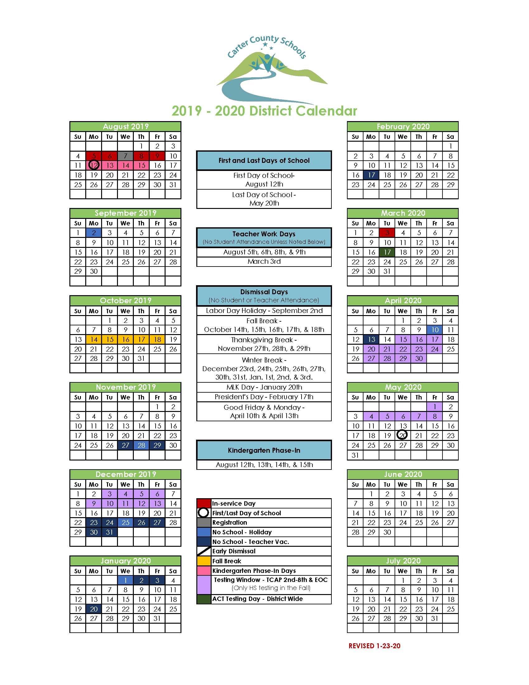 District Calendar – Carter County Schools In Middle Country School District Calendar