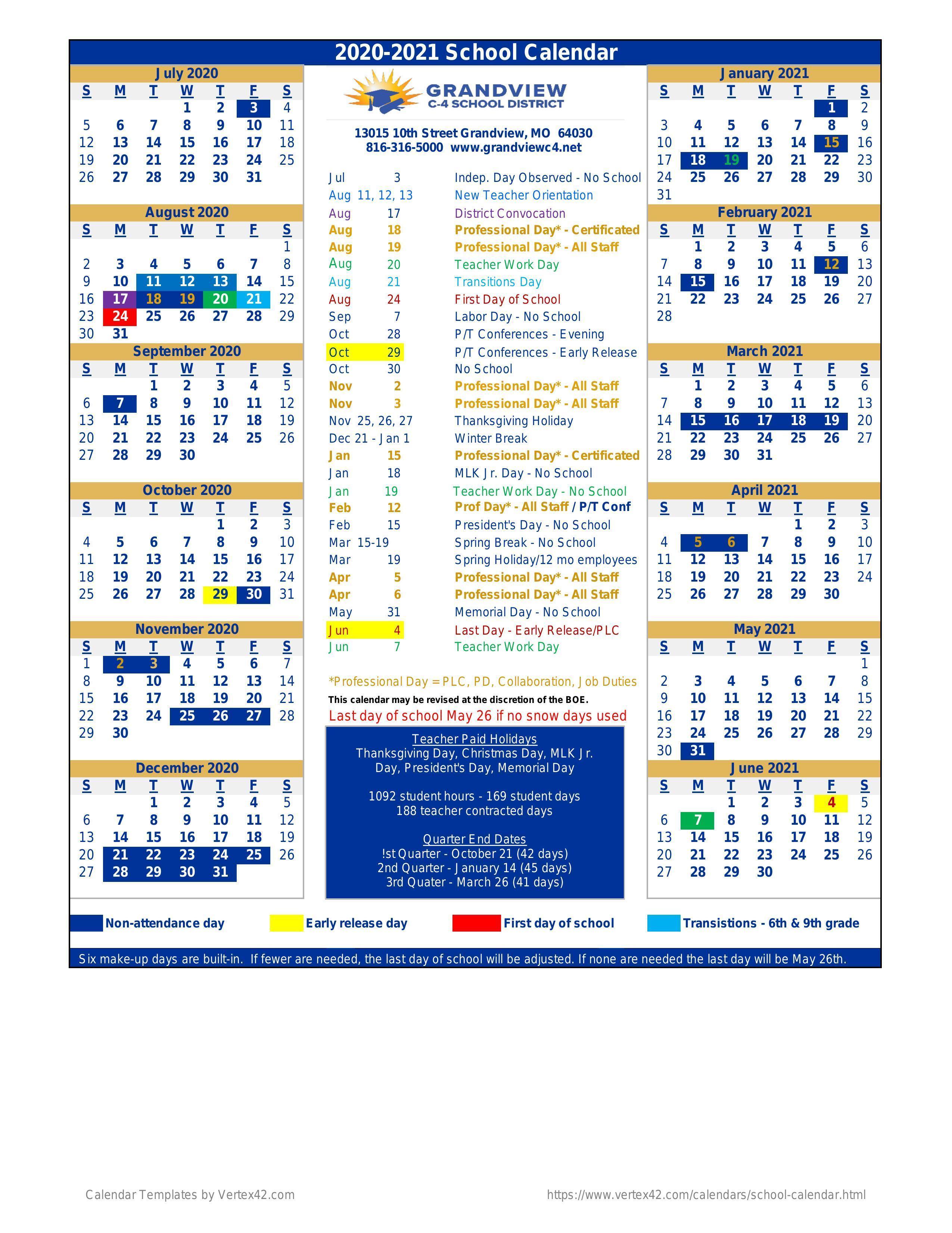 District Calendar – District Calendar – Grandview C 4 School Regarding Cherry Hill Public Schools Calendar