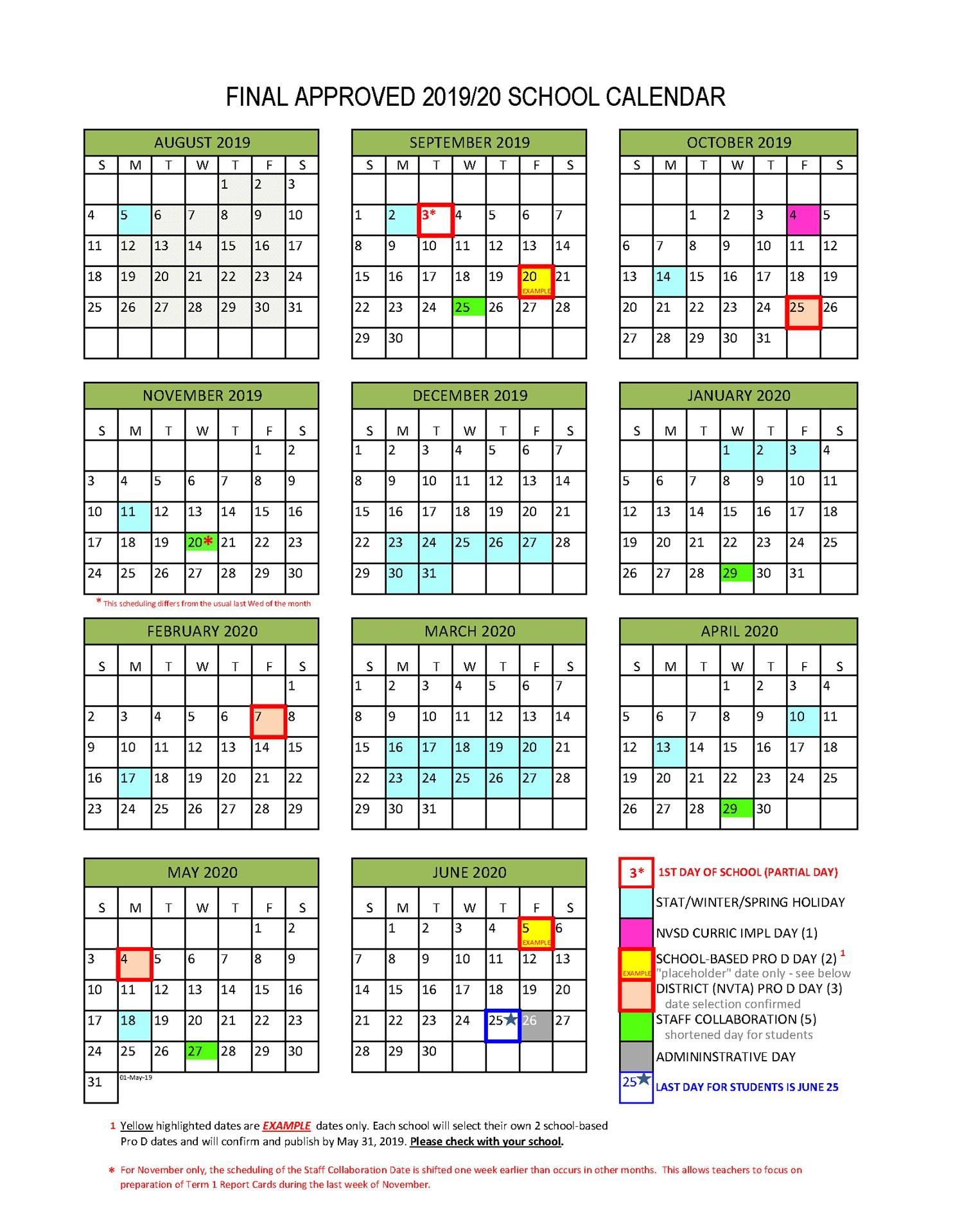 District Calendar - North Vancouver School District With Davidson County Tn School Calendar20