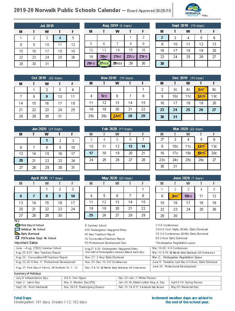District Calendar – Norwalk Public Schools With Eastern Ct State University Calender