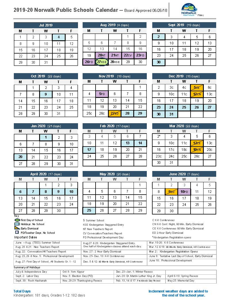 District Calendar – Norwalk Public Schools Within New Canaan Country Day Calendar