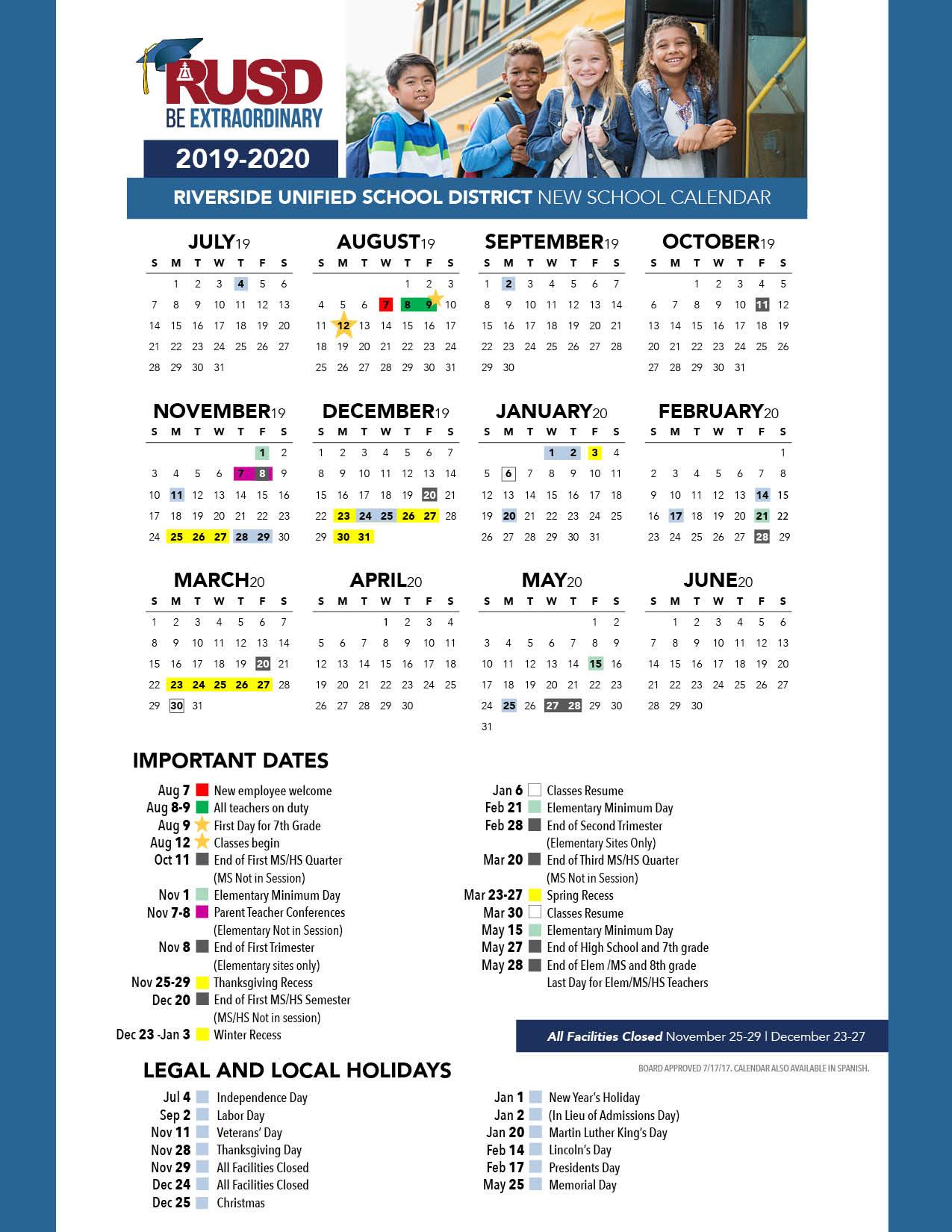 District Calendar - Riverside Unified School District Within Fontana School District 12 Month Employee Calendar