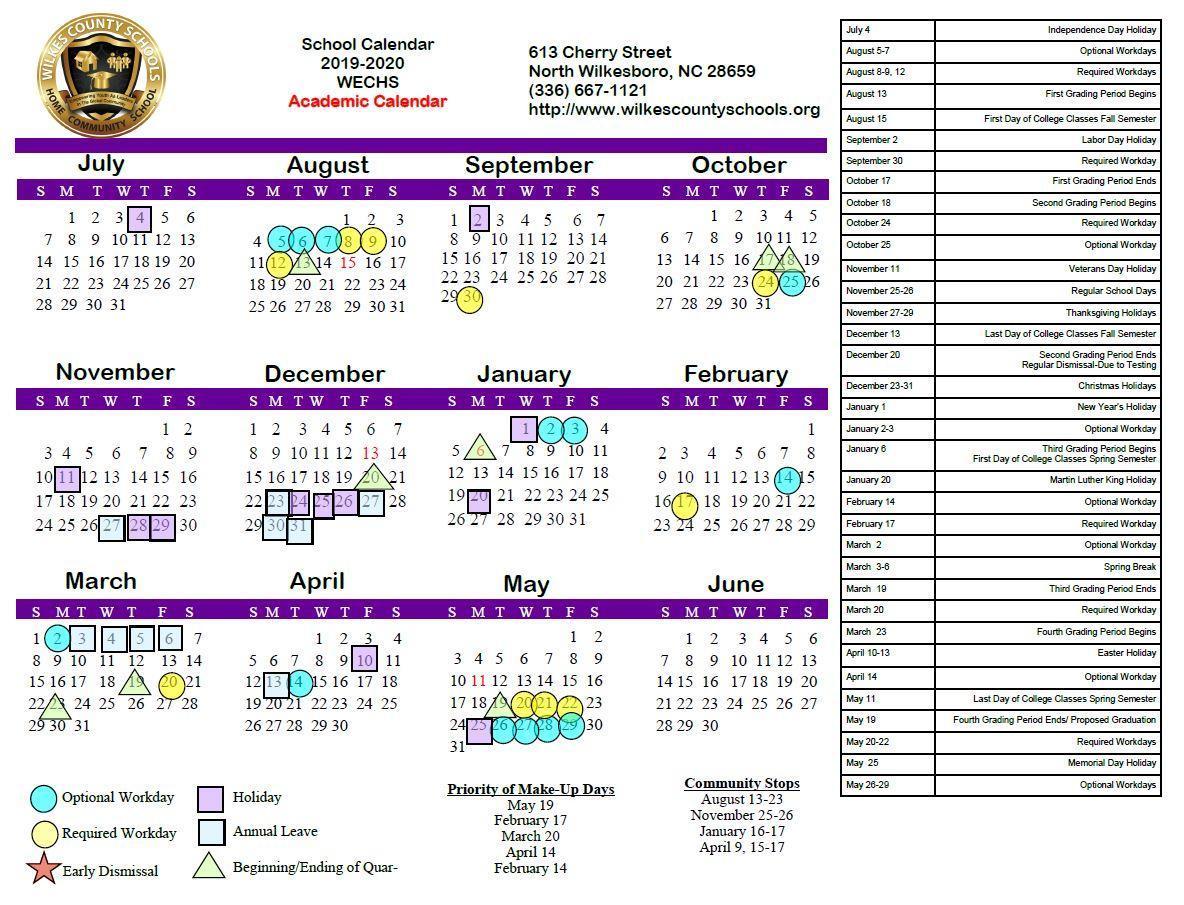 District Calendars – District – Wilkes County Schools Regarding Burke County Public Schools Nc Calendar