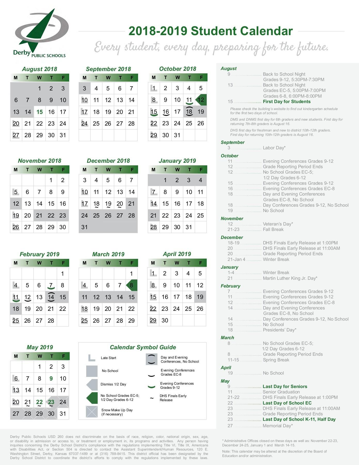 District Publications – Derby Public Schools In El Paso County School District 11 Calendar