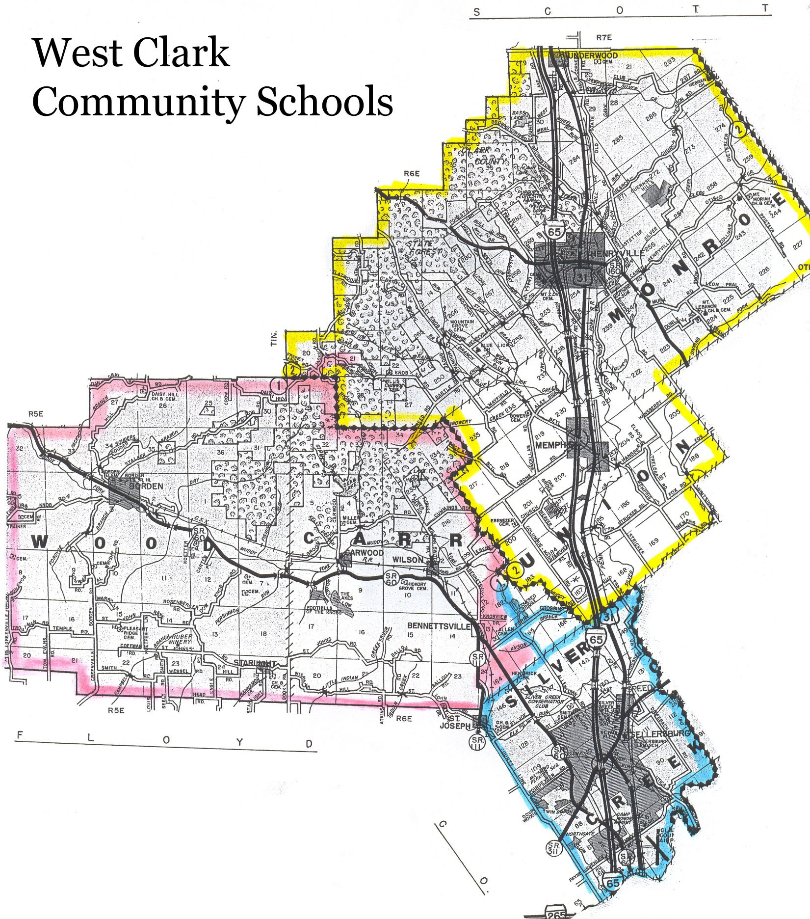District & School Boundaries Map – West Clark Community Schools Within West Clark Community School Calendar