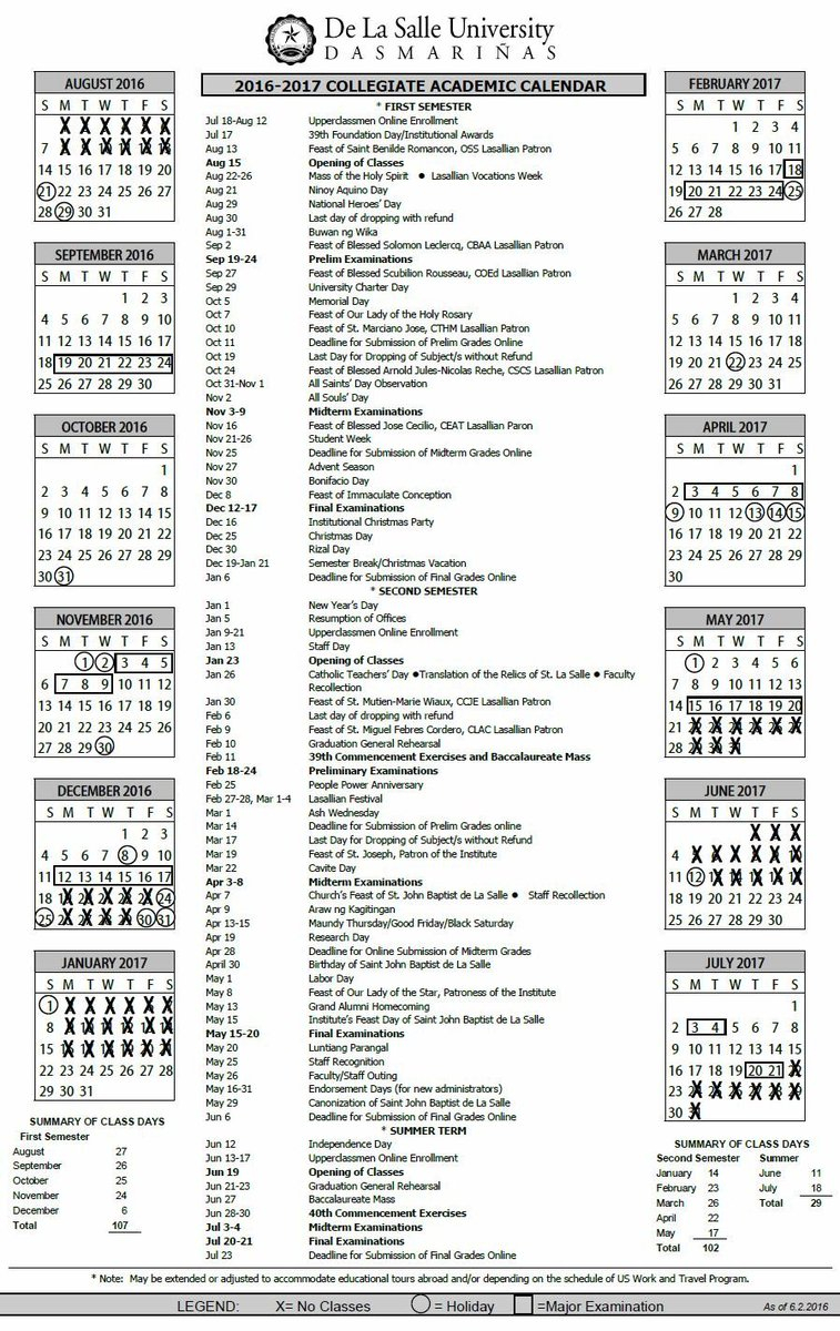"Dlsu D Usc On Twitter: ""here's The 2016 2017 Collegiate Regarding La Salle University Academic Calendar"