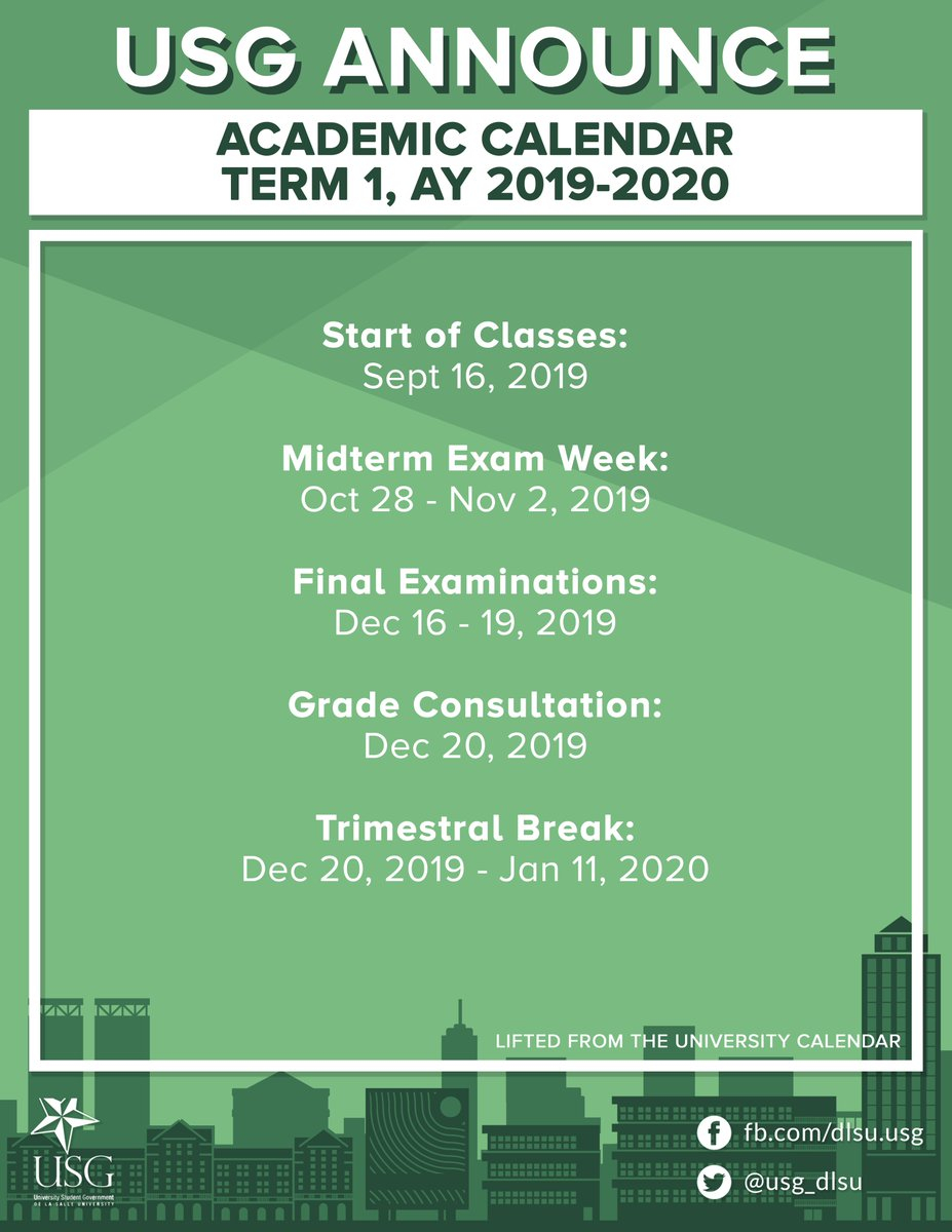 "Dlsu Usg 🏳️‍🌈 On Twitter: ""[Usg Announce] Please See The within La Salle University Academic Calendar"