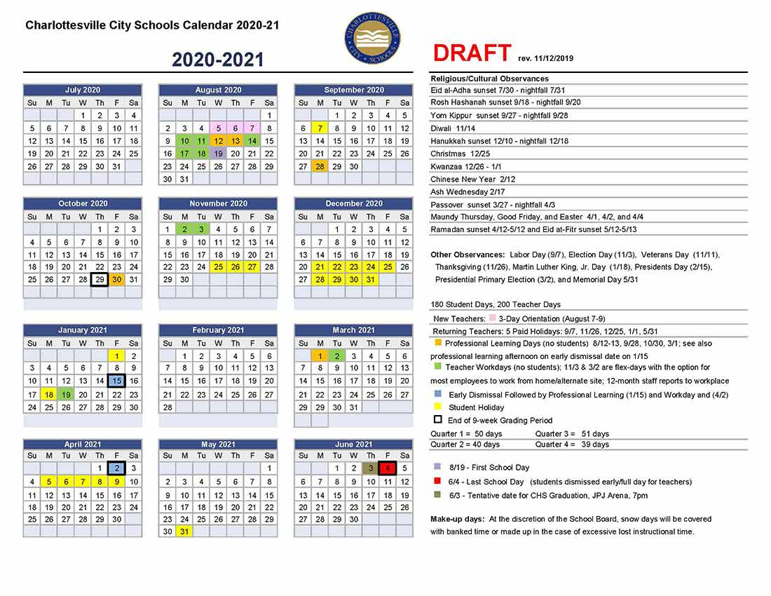 Draft Calendar For 2020 21 | Charlottesville City Schools For Post Falls High School Calendar