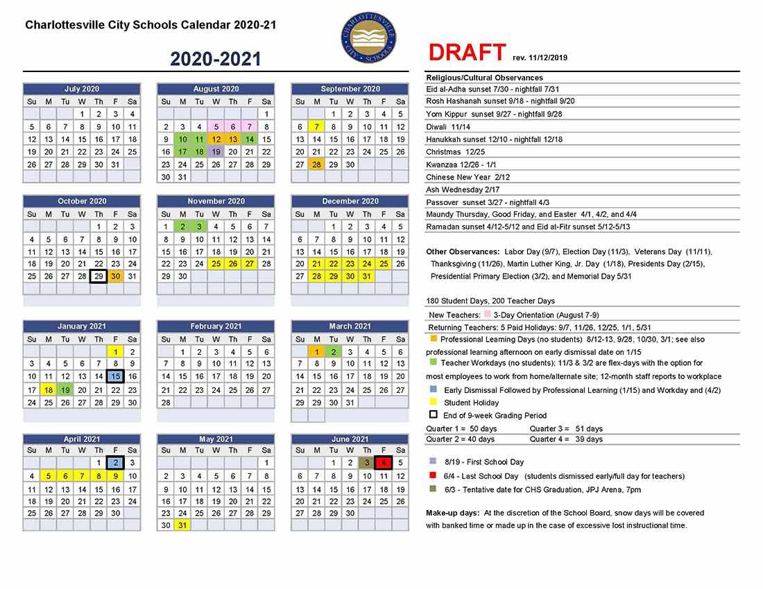 Draft Calendar For 2020 21 | Charlottesville City Schools Intended For West Clark Community School Calendar 2021 20