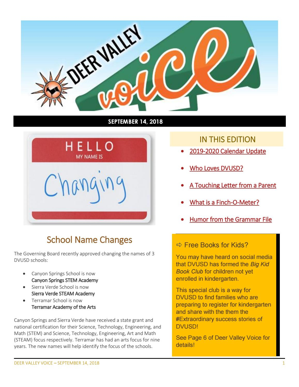 Dv Voice September 14, 2018Deer Valley Unified School Inside Deer Valley Unified School District Calendar