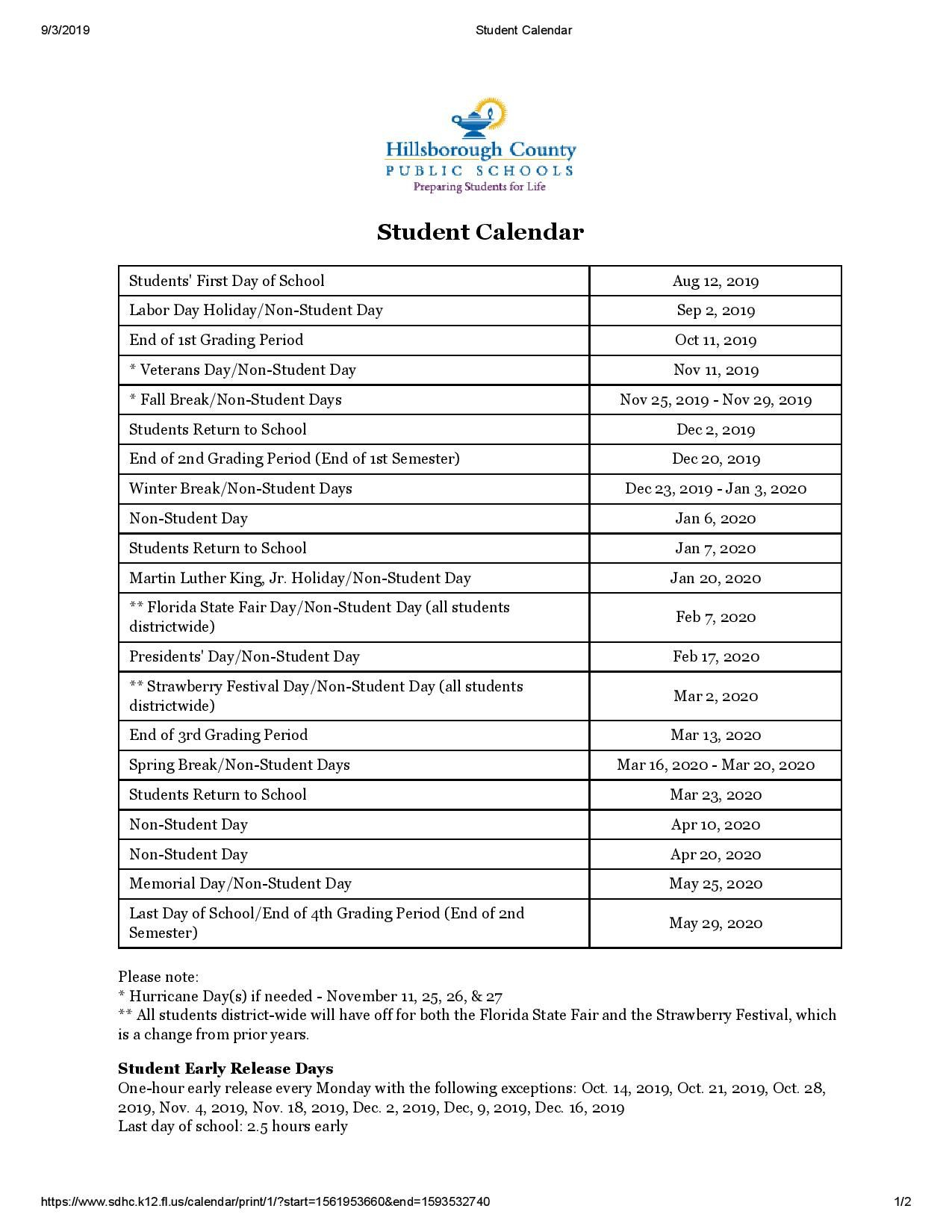 ✅Hillsborough County School Calendar (With Images) | School With Regard To Holidays For Hillsborough County Schools