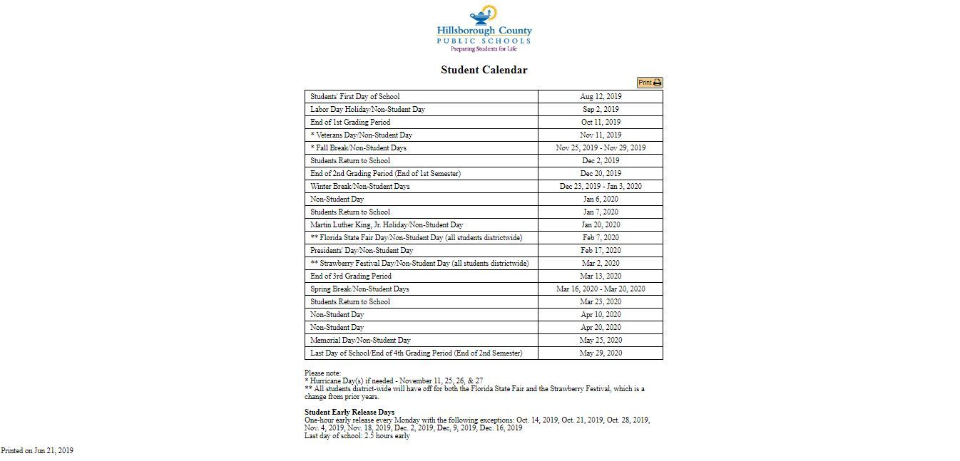 ✅Hillsborough County School Calendar (With Images)   School With Regard To Holidays For Hillsborough County Schools