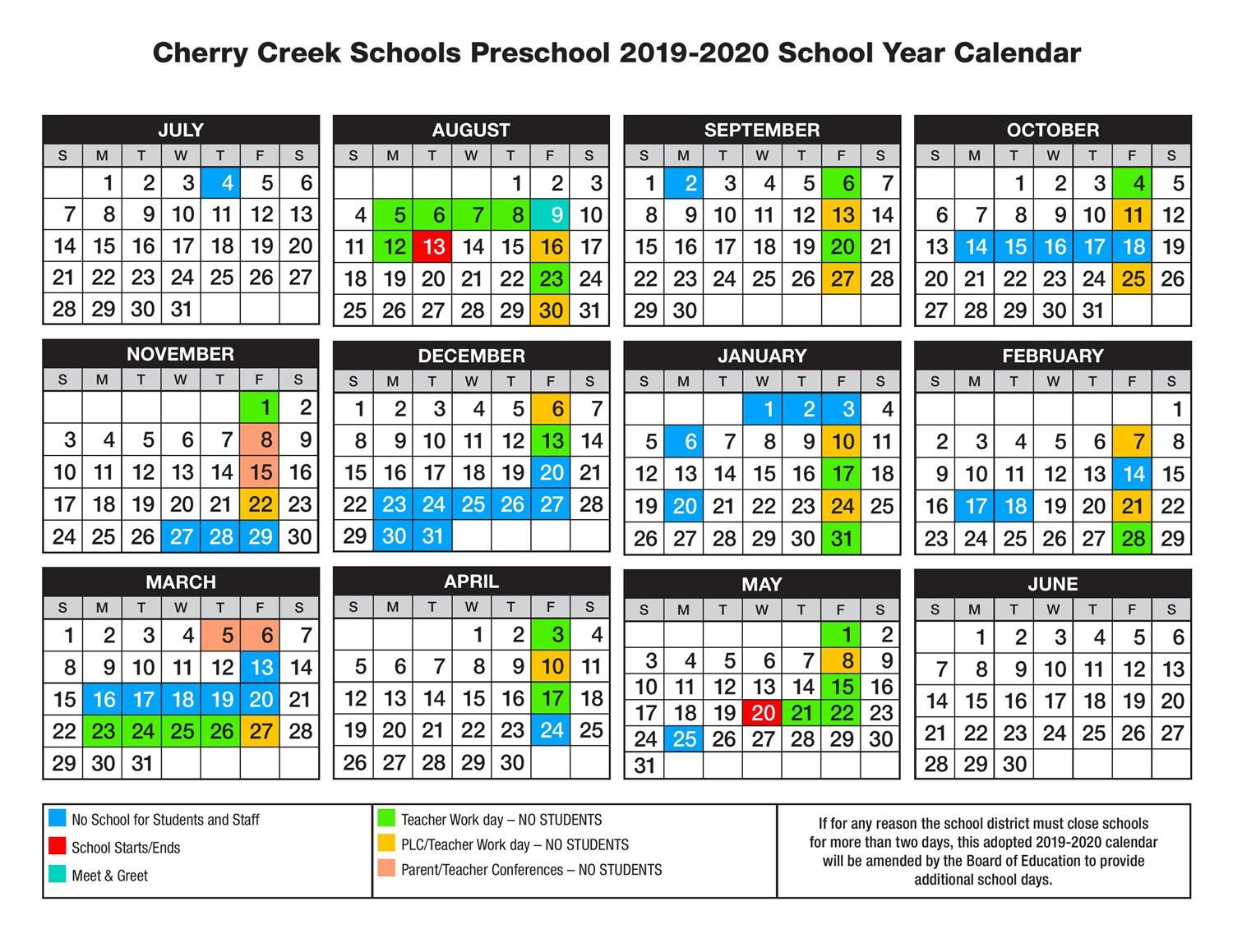 Early Childhood Education / Calendar with Cherry Hill District Spring Break