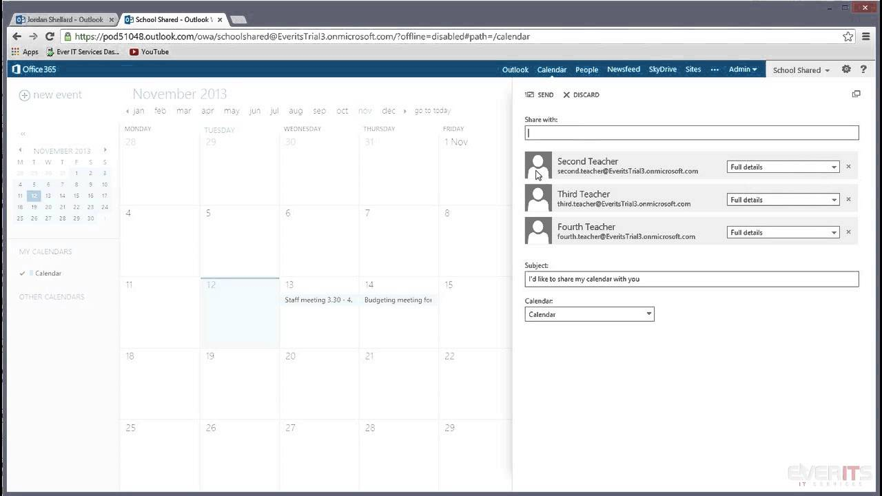 Editing Shared Calendar Permissions In Office 365 In Grant Access To Outlook Calendar