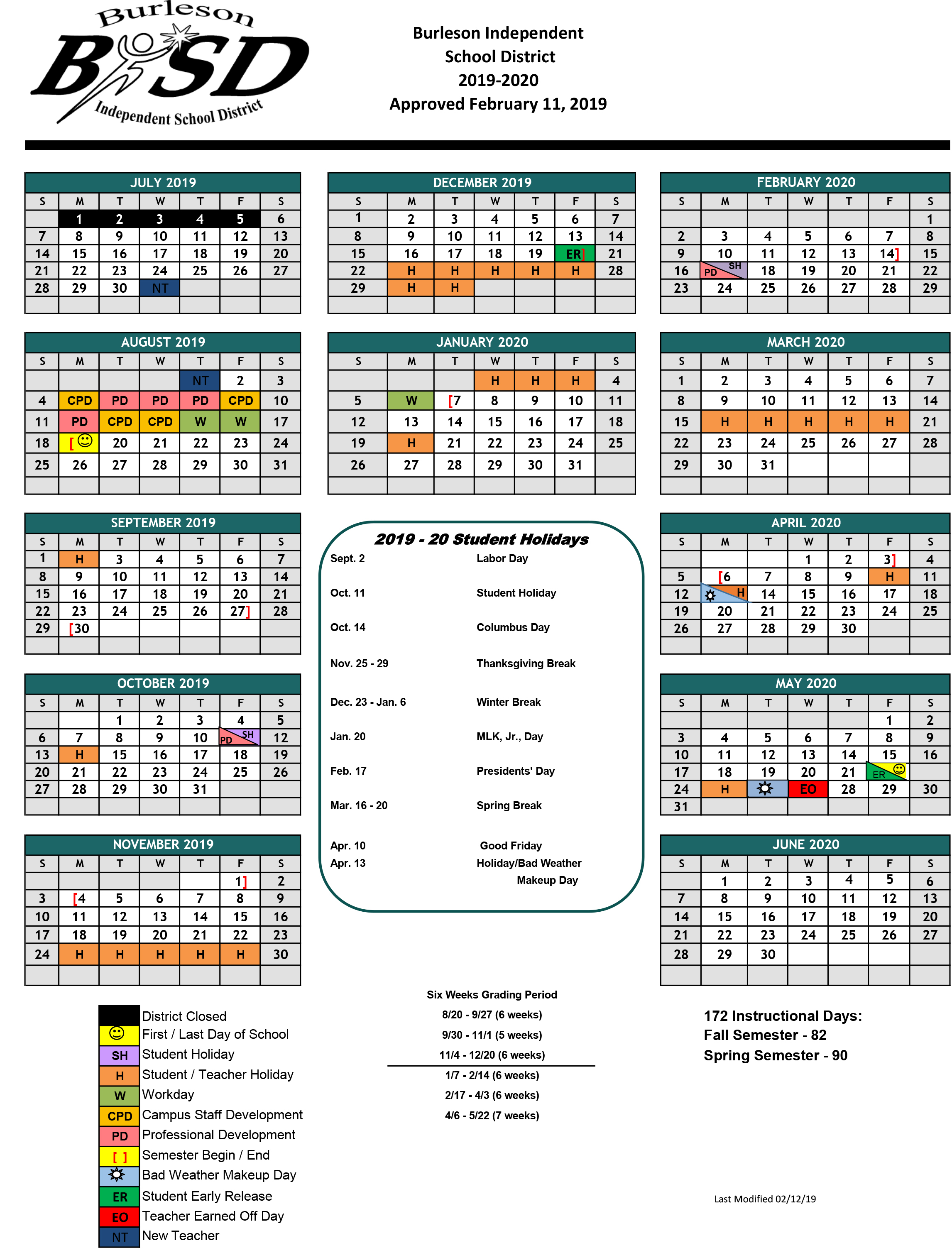 Educational Operations / Summer School Throughout Brownsville Independent School District Calendar