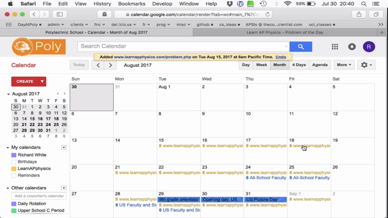 Email Notification Of Recurring Events In Google Calendar Inside Create A Recurring Task In Google Calendar