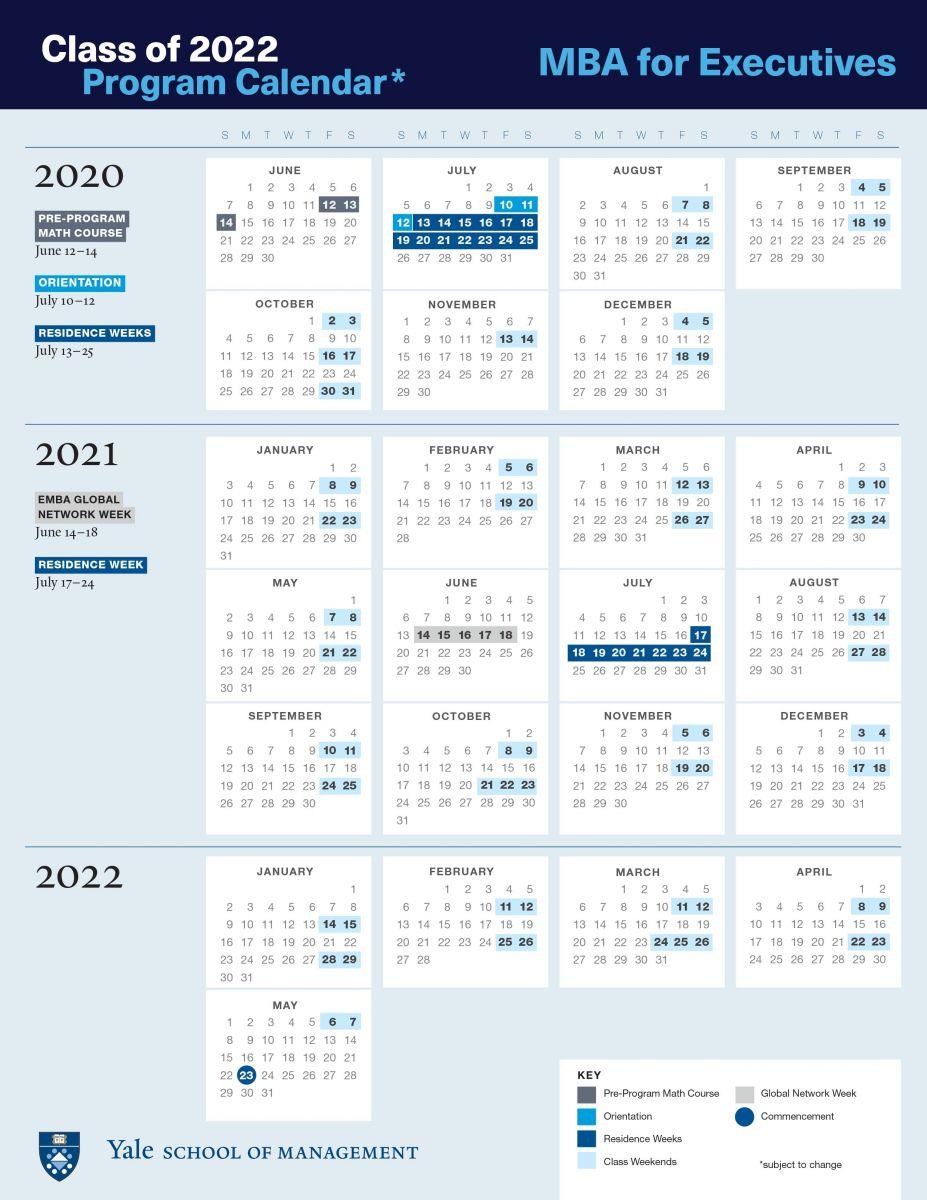 Emba Academic Calendar | Yale School Of Management Pertaining To Nassau Cc 19 20 Calendar
