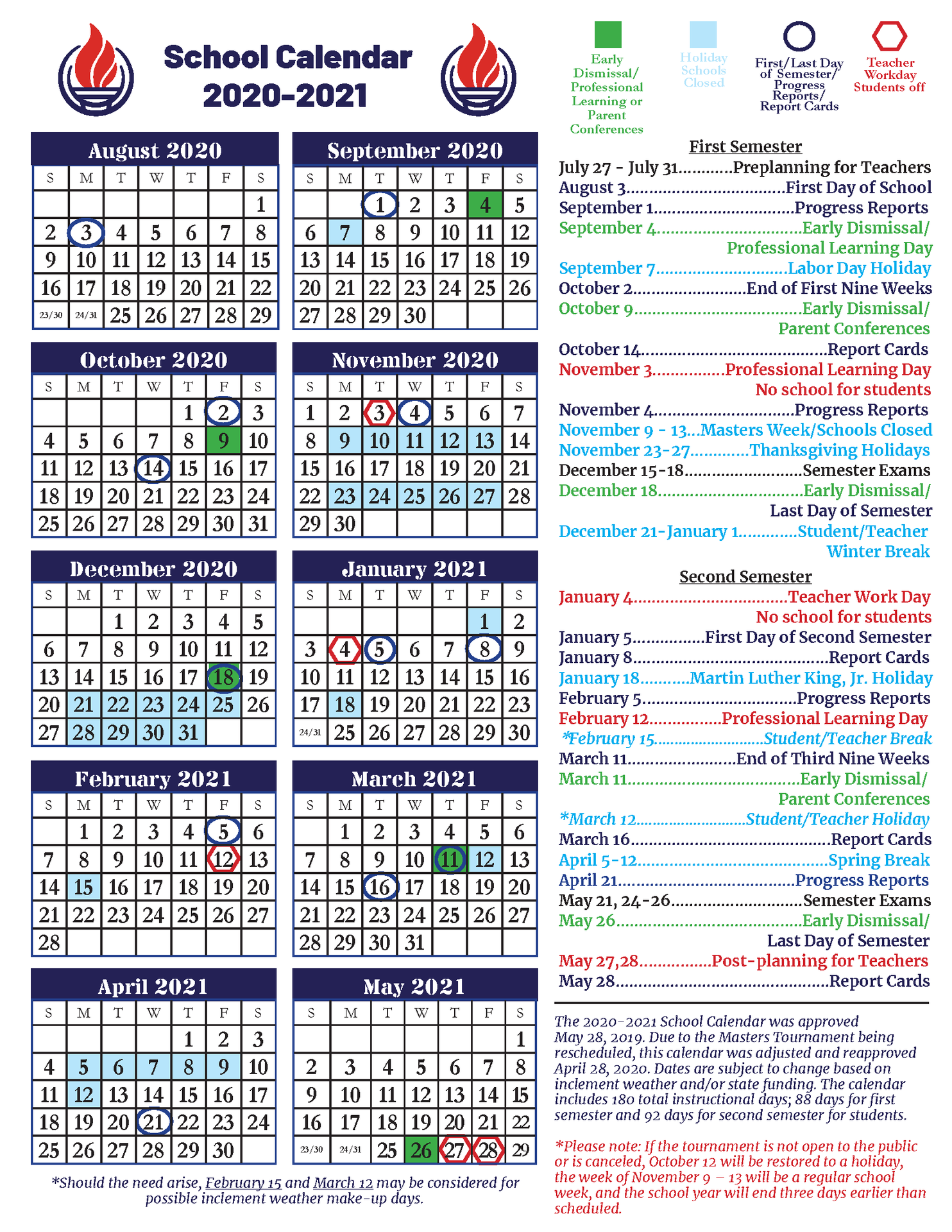 End Of School Year Information – Ccsd Coronavirus Response Throughout Aiken County School Calendar