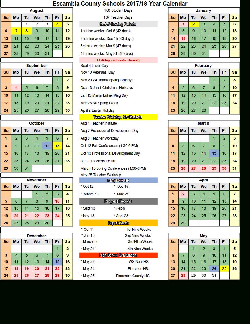 Escambia County School District Calendar 2018 And 2019 Pertaining To Alachua School Board Calendar