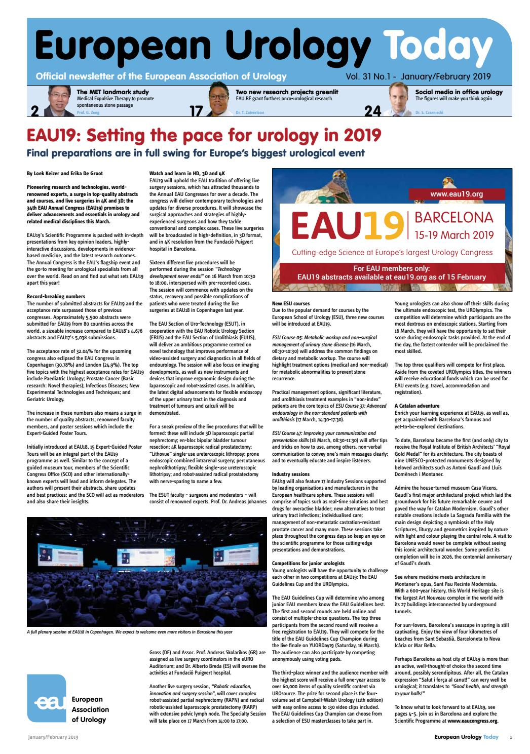 European Urology Today January - March 2019European Regarding August 2021 Calendar Hsu