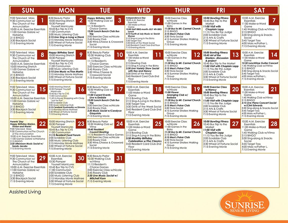 Example Assisted Living Calendar From Sunrise Senior Living Regarding Assisted Living Activities Schedule
