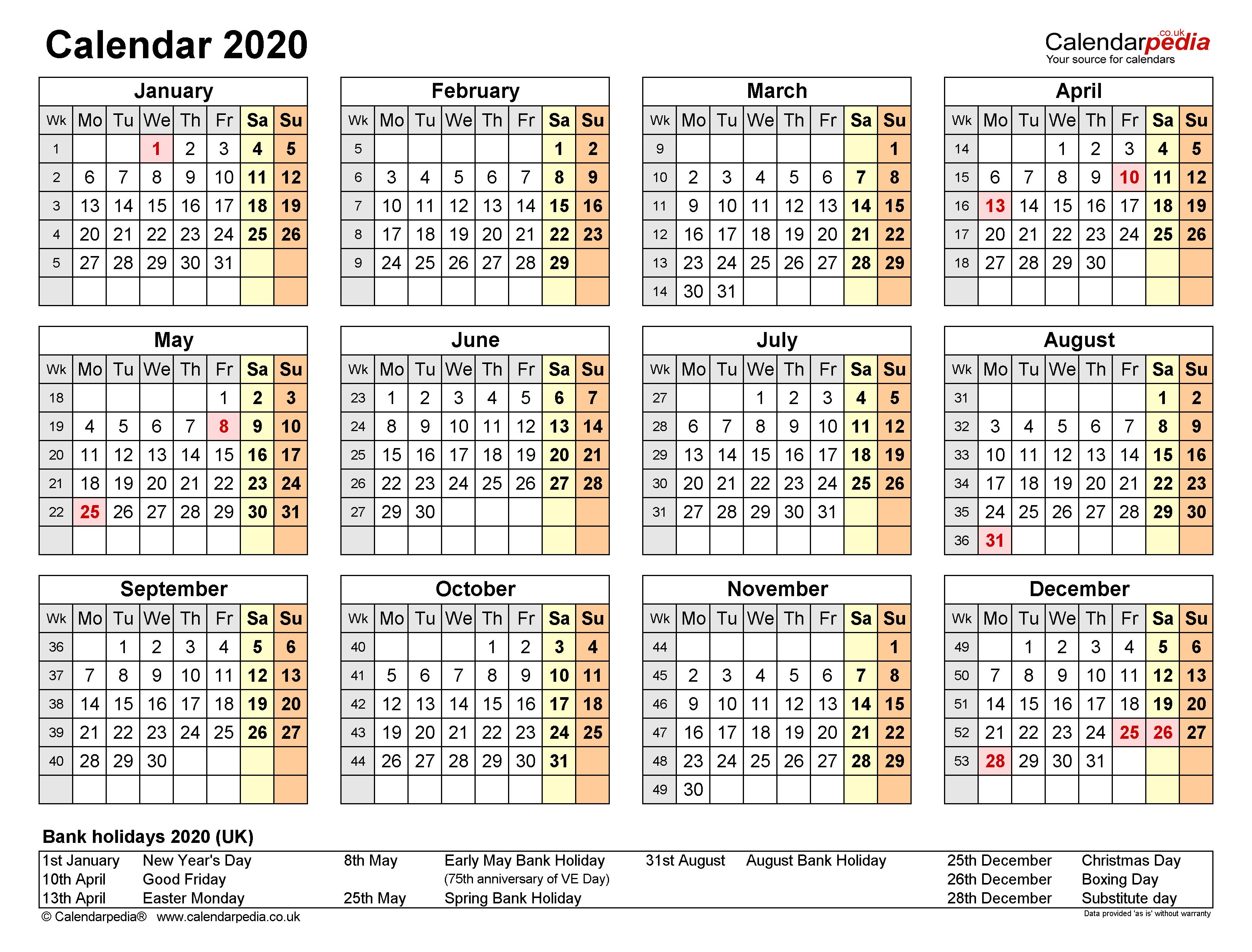 Excel Calendar 2020 (Uk) | 17 Printable Templates (Xlsx, Free) Throughout Editable 2021 Elf Calendar