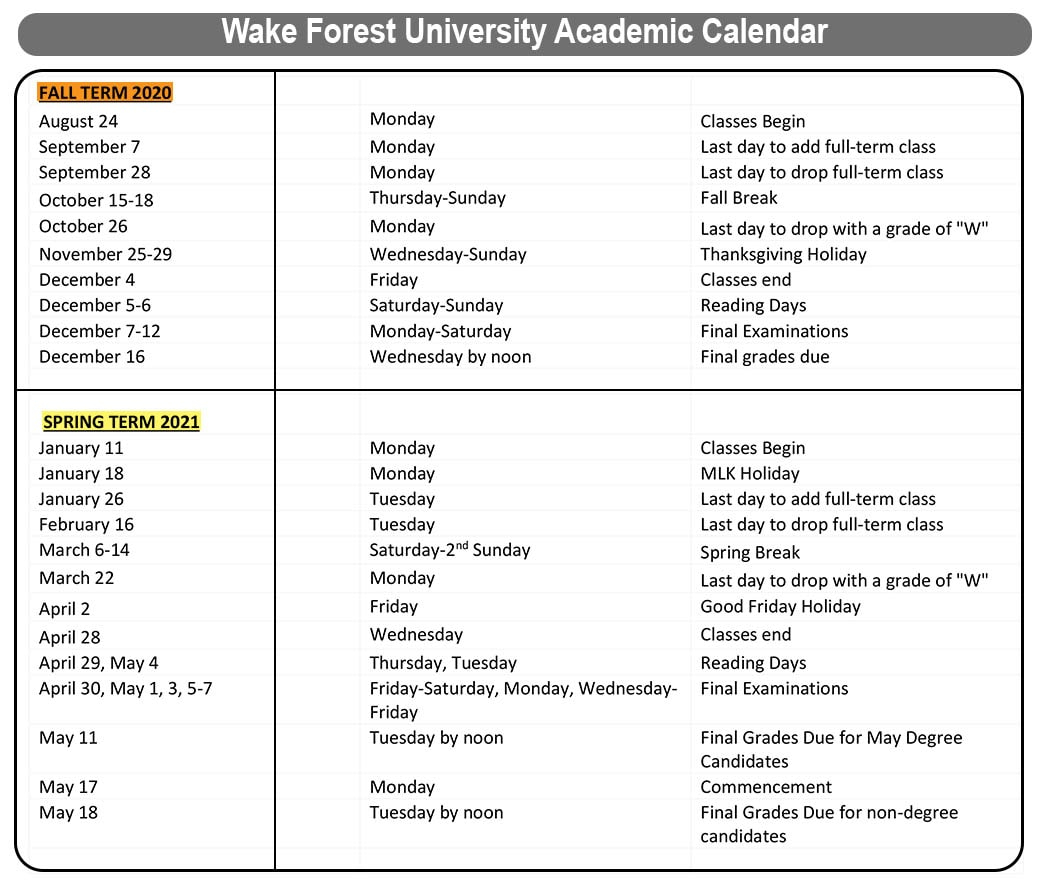 😄wake Forest University Academic Calendar 2020-2021😄 with regard to Wake Tech Calendar 2021