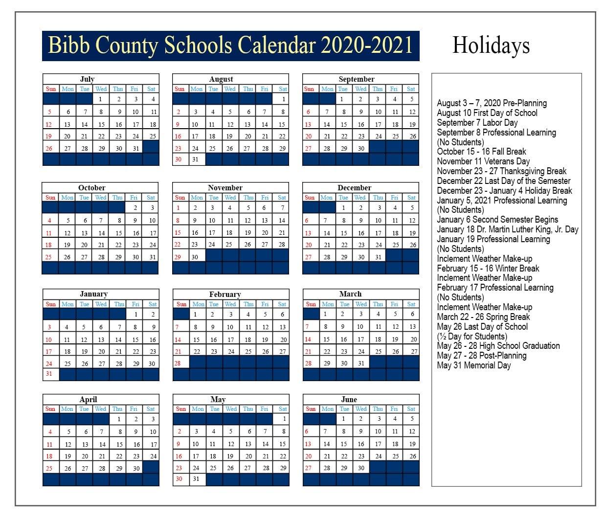 😊bibb County Schools Calendar 2020 2021😊 Pertaining To Bibb County Board Of Eduacation Calendar