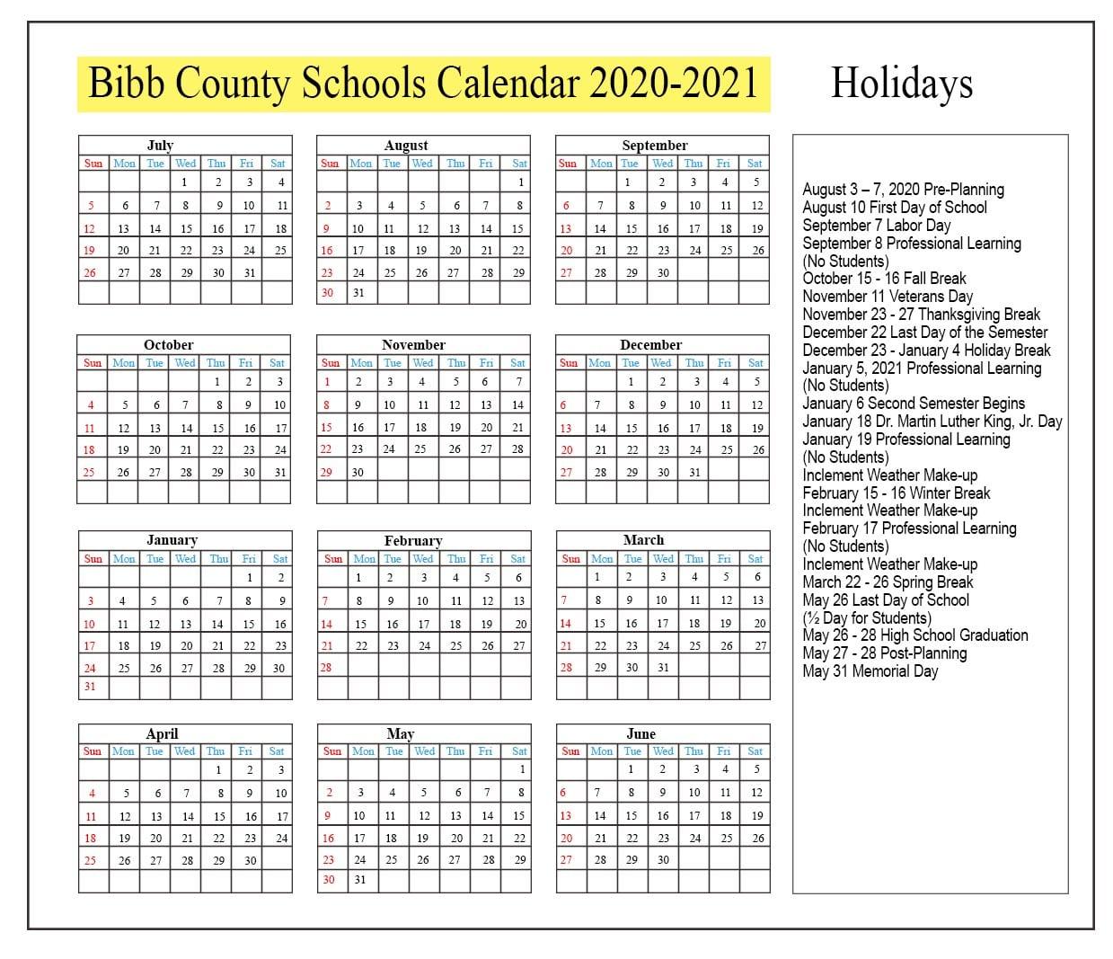 😊bibb County Schools Calendar 2020 2021😊 Regarding Bibb County Board Of Eduacation Calendar