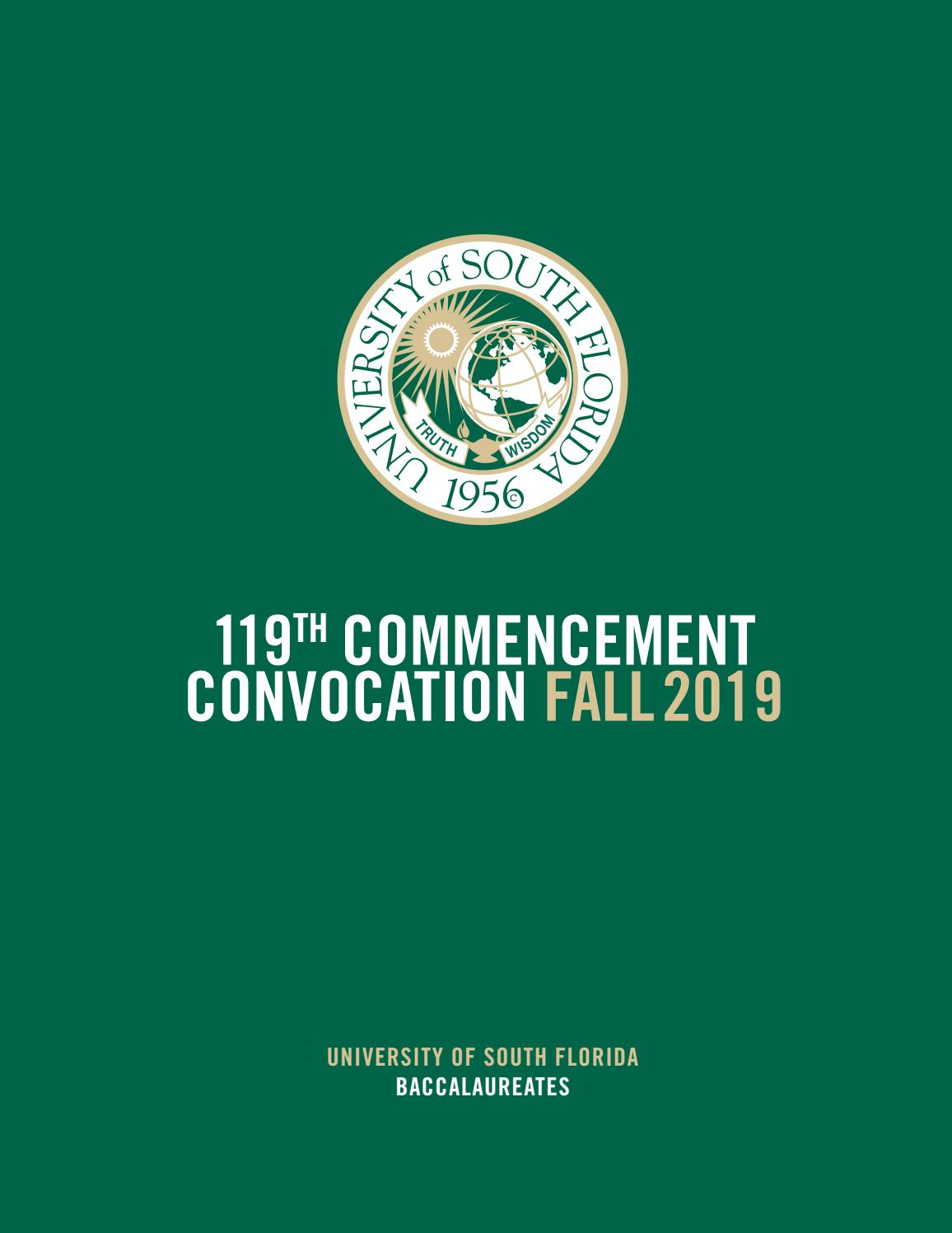Fall 2019 Usf Tampa Undergraduate Commencement Program With University Of South Florida Academic Calendar Downloadable