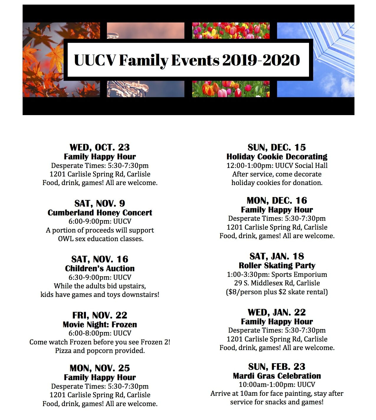 Family Event Calendar 2019 2020 - Unitarian Universalists Of Throughout Cumberland Valley School District Calendar