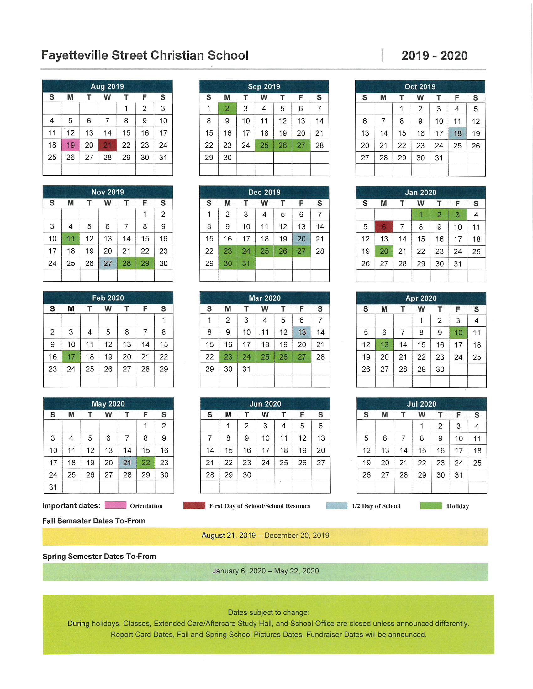 Fayetteville Street Christian School | Asheboro, Nc – School Regarding Moore County Nc School Calendar