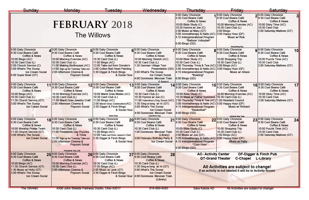 February 2018 Activity Calendars - The Grand With Assisted Living Activity Calendar Format