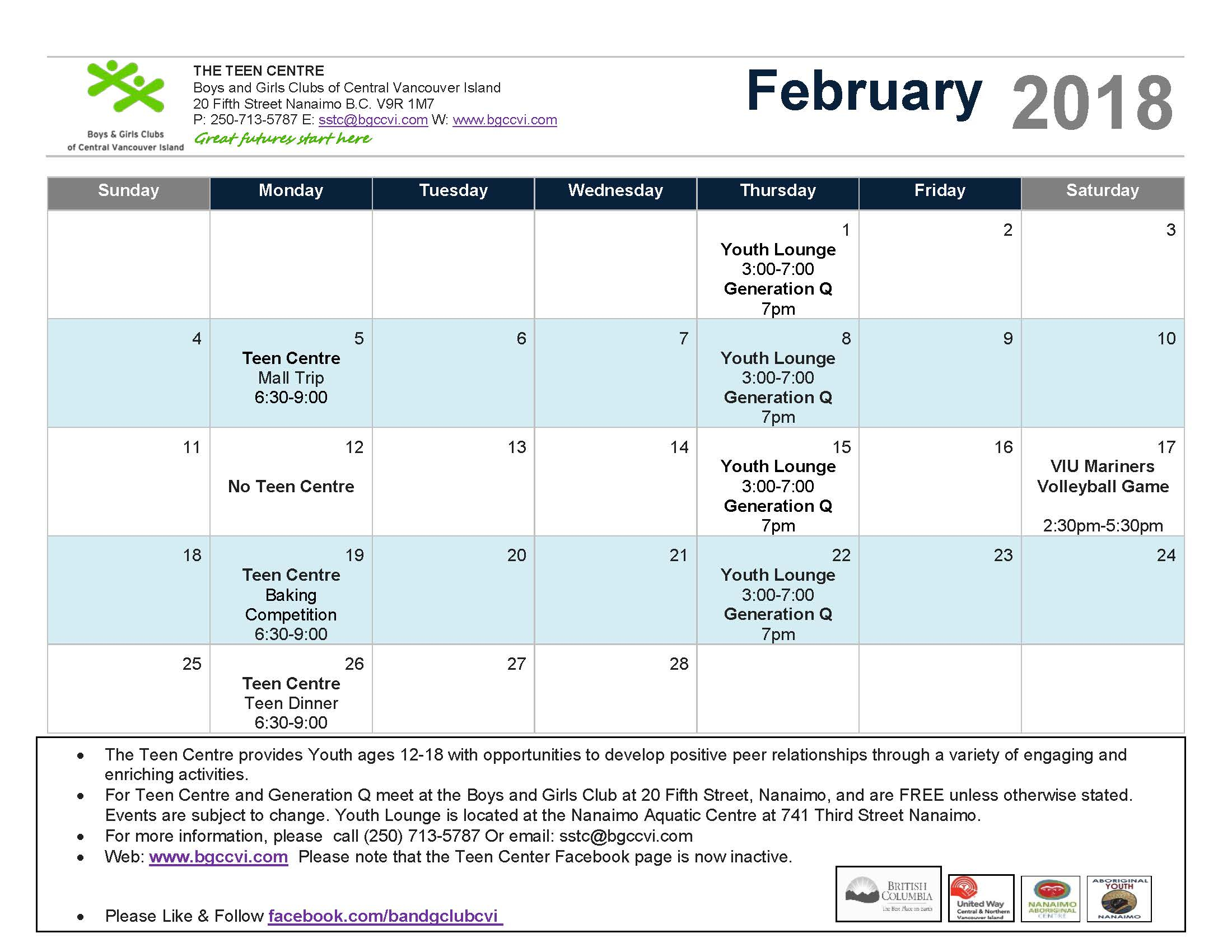 February 2018 Teen Centre Calendar – Boys & Girls Clubs Of Intended For Boys And Girls Club Program Program Calendar