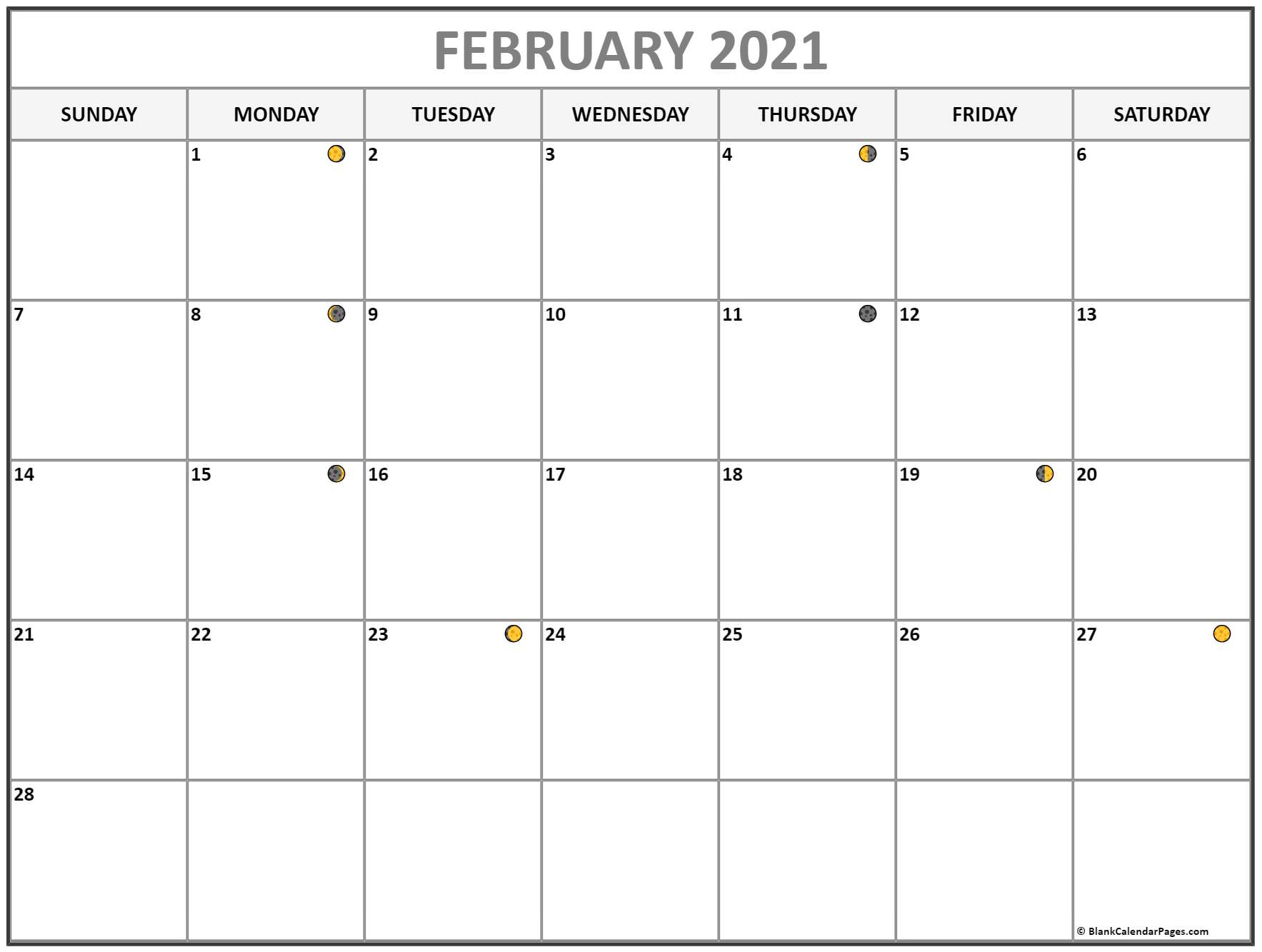 February 2021 Lunar Calendar | Moon Phase Calendar Inside Moon Calendar 2021 Name And Date For Kids