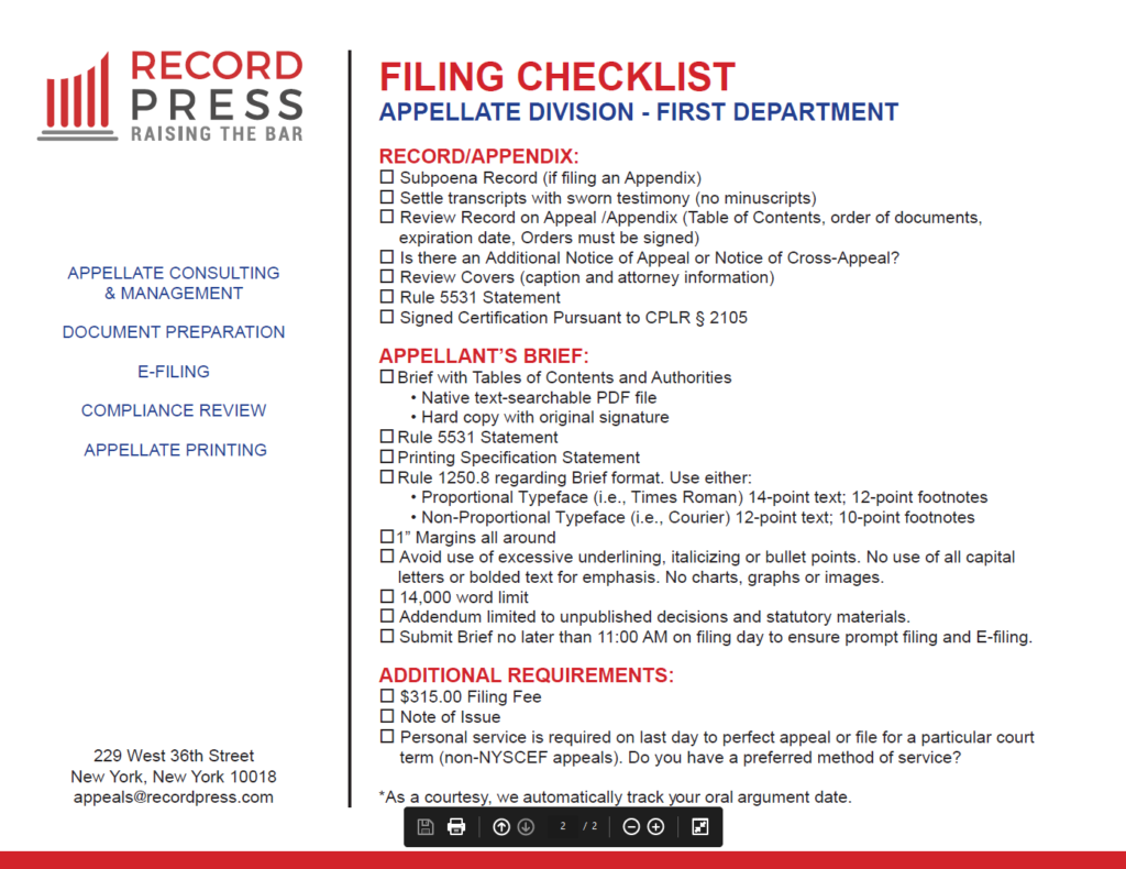 First Department 2020 Calendar - Record Press In Appellate Divisiohjn Seconf Dept Calendar
