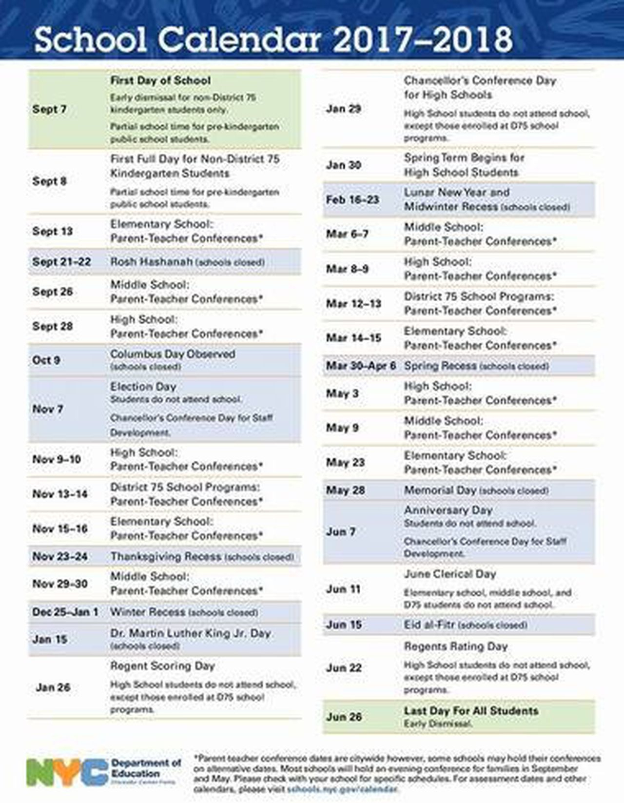 First Look: Nyc Public School Calendar For 2017 2018 In Staten Island College Callendar