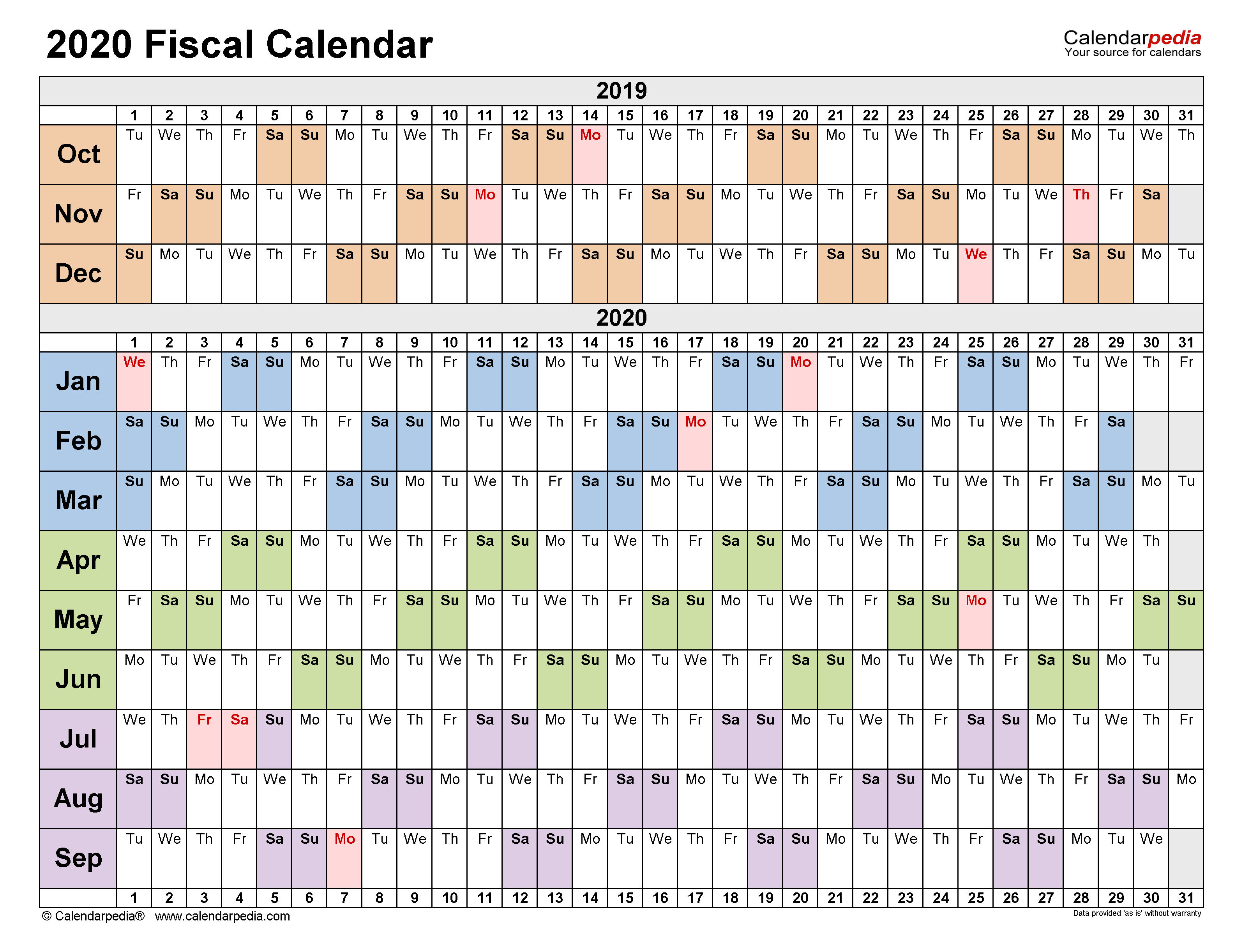 Fiscal Calendars 2020 – Free Printable Pdf Templates For 4 5 4 Retail Calendar 2021 2020
