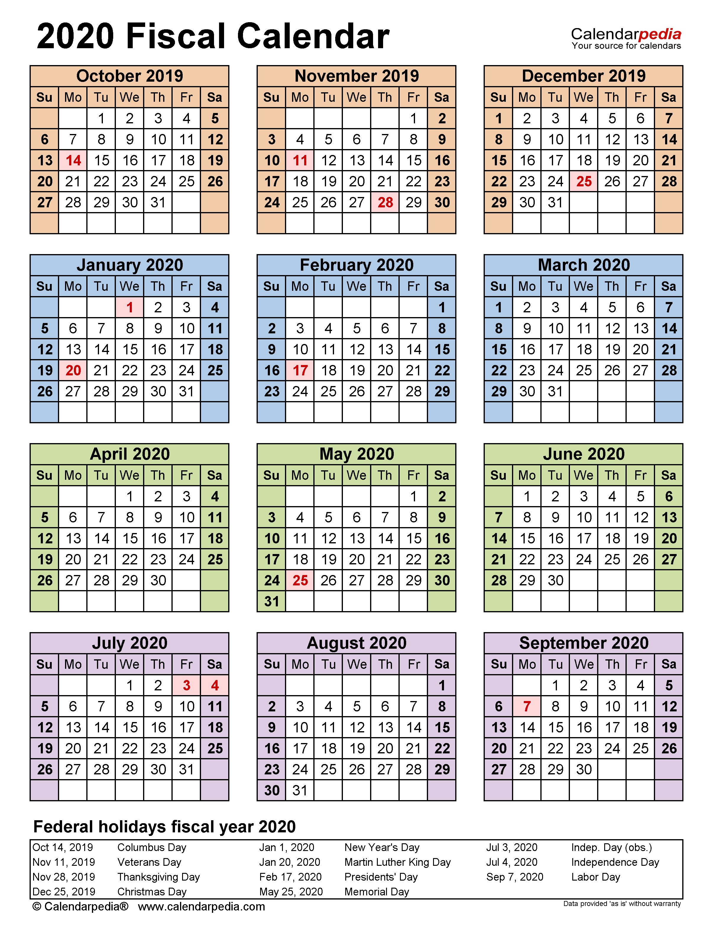 Fiscal Calendars 2020 – Free Printable Pdf Templates Regarding 454 Retail Calendar 2020
