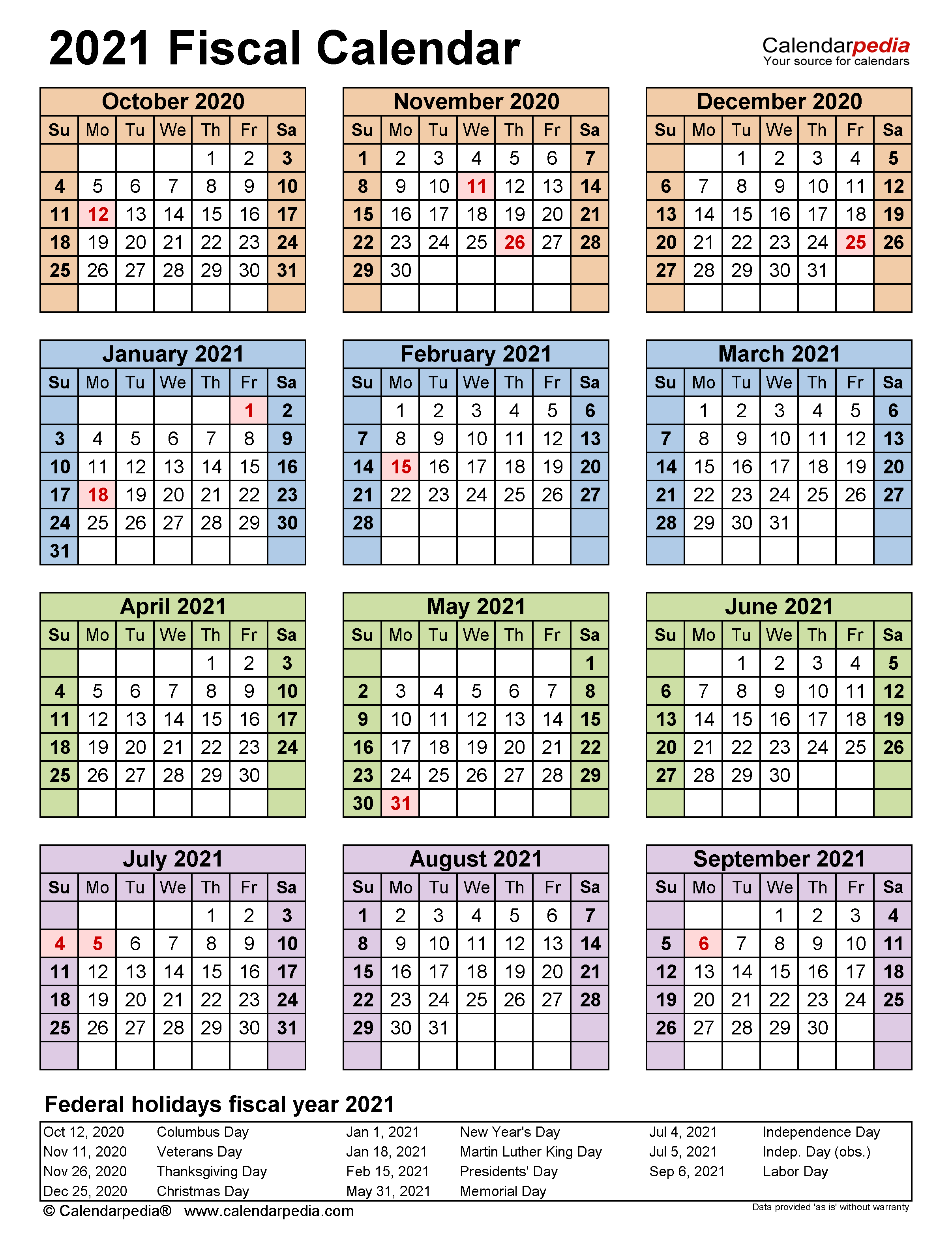 Fiscal Calendars 2021 - Free Printable Pdf Templates For 4 5 4 Retail Calendar 2021