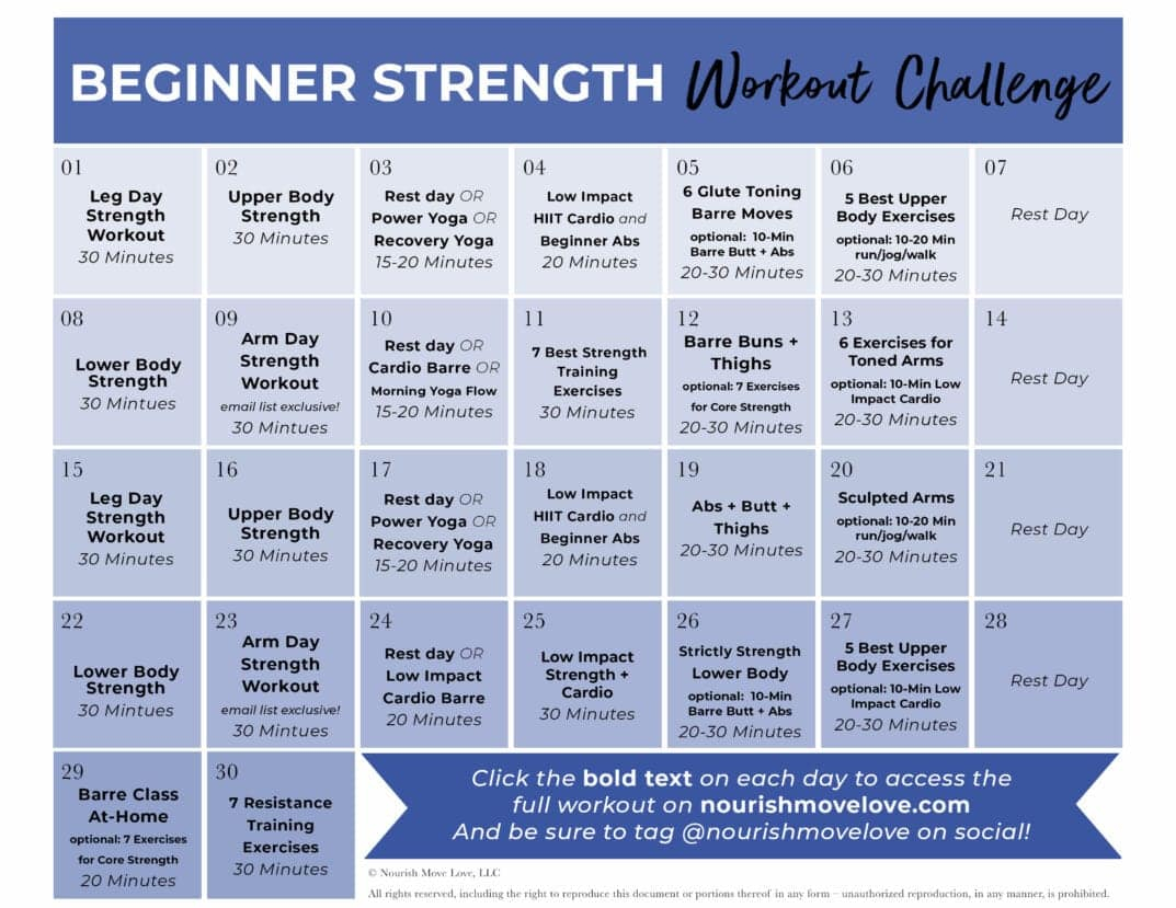Fitness Challenge: 30 Day Beginner Workout Plan | Nourish Regarding 30 Days Fitness Calendar