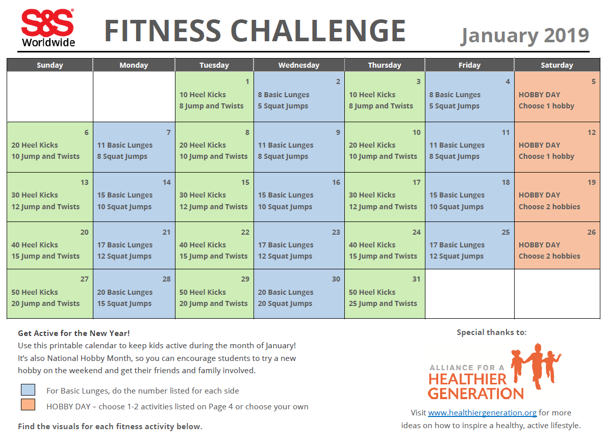 Fitness Challenge Calendar January 20191 - S&s Blog With Regard To January Fitness Printable Challenge