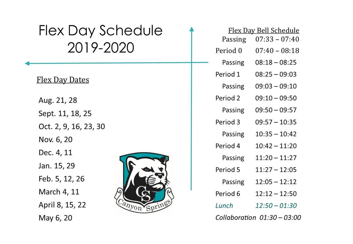 Flex Day Schedule – Parents – Canyon Springs High School In North Canyon High School Calendar