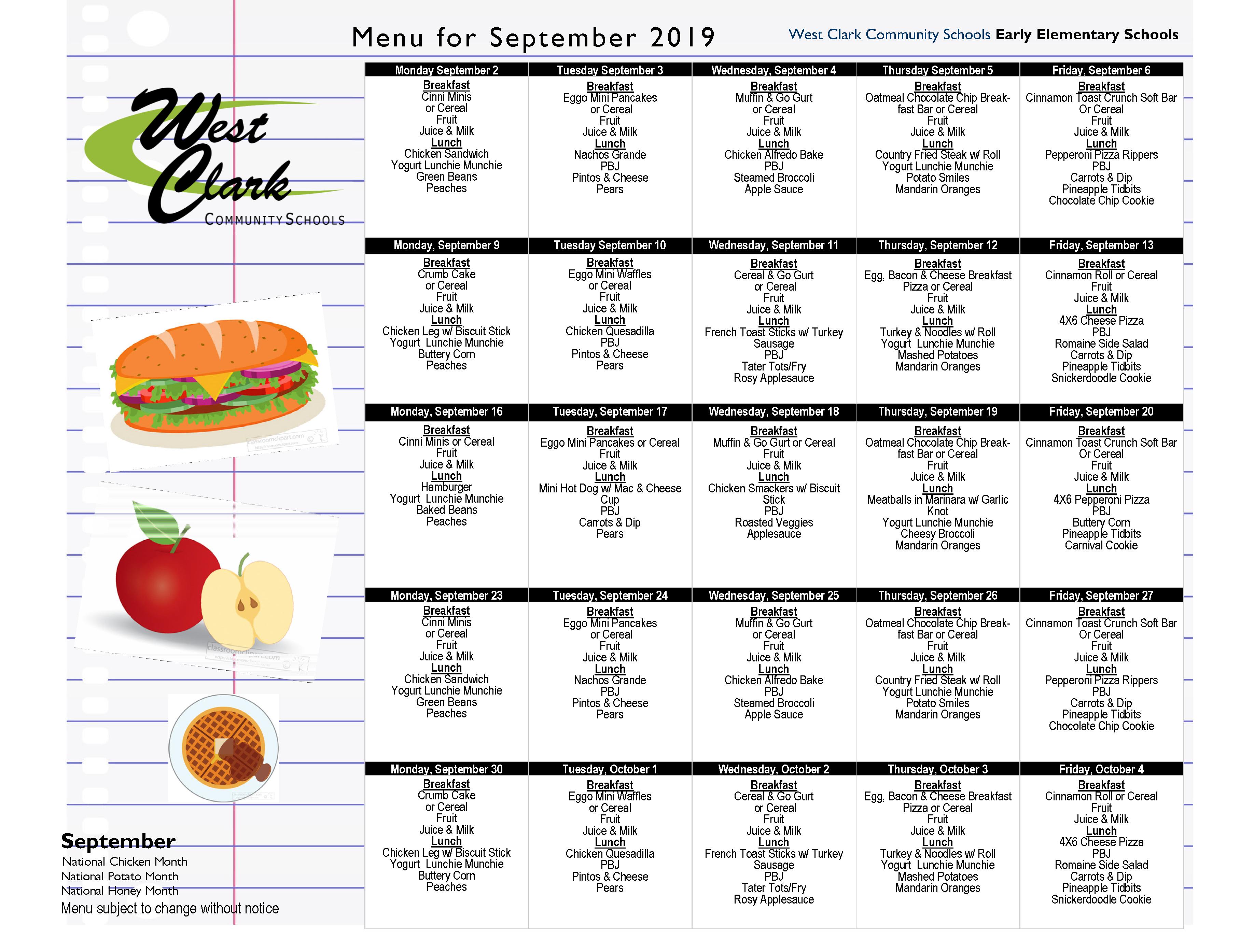 Food Menus – West Clark Community Schools Intended For West Clark School Calendar