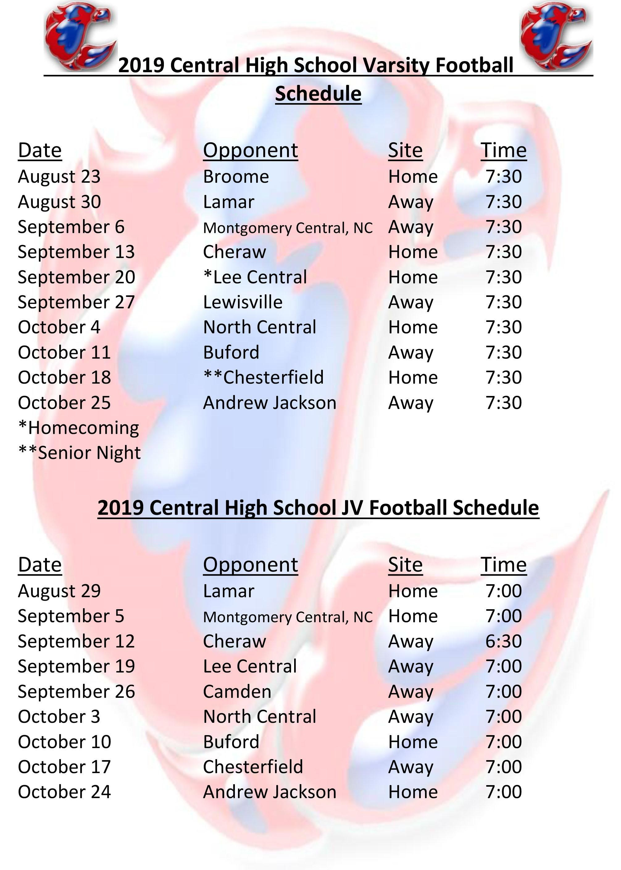 Football – Athletics – Central High School In Lee County School Nc Calendar