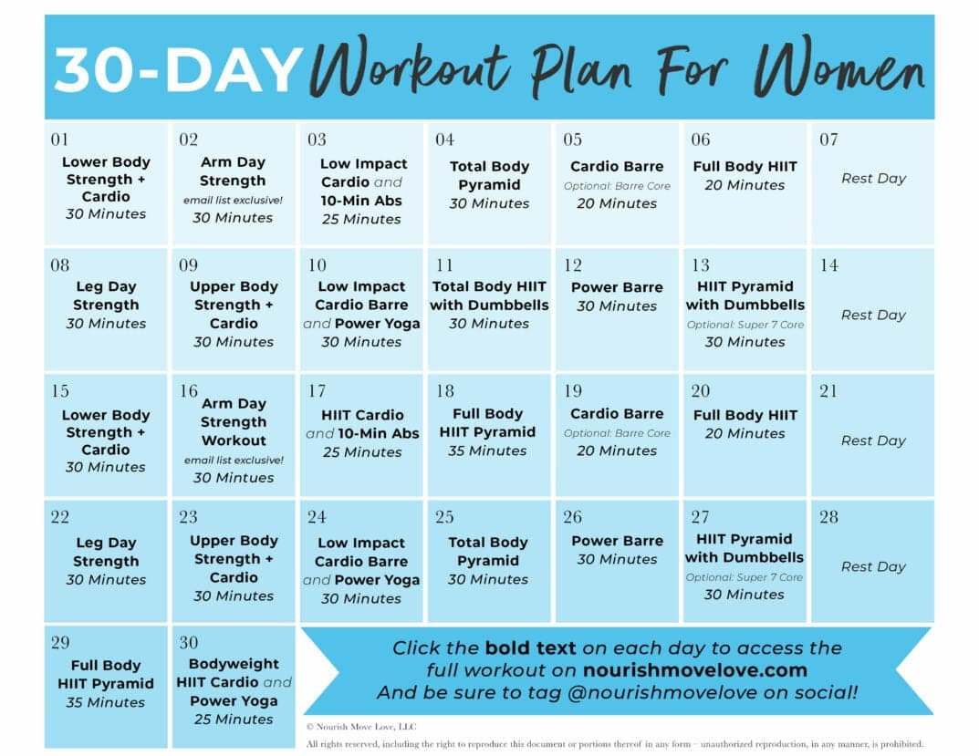 Free 30 Day Home Workout Plan | Nourish Move Love Throughout 30 Days Fitness Calendar