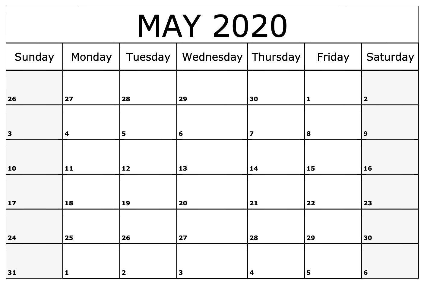 Free Cute May 2020 Calendar Template | Printable Calendar Within Sunrise Sunset Calendar Printable