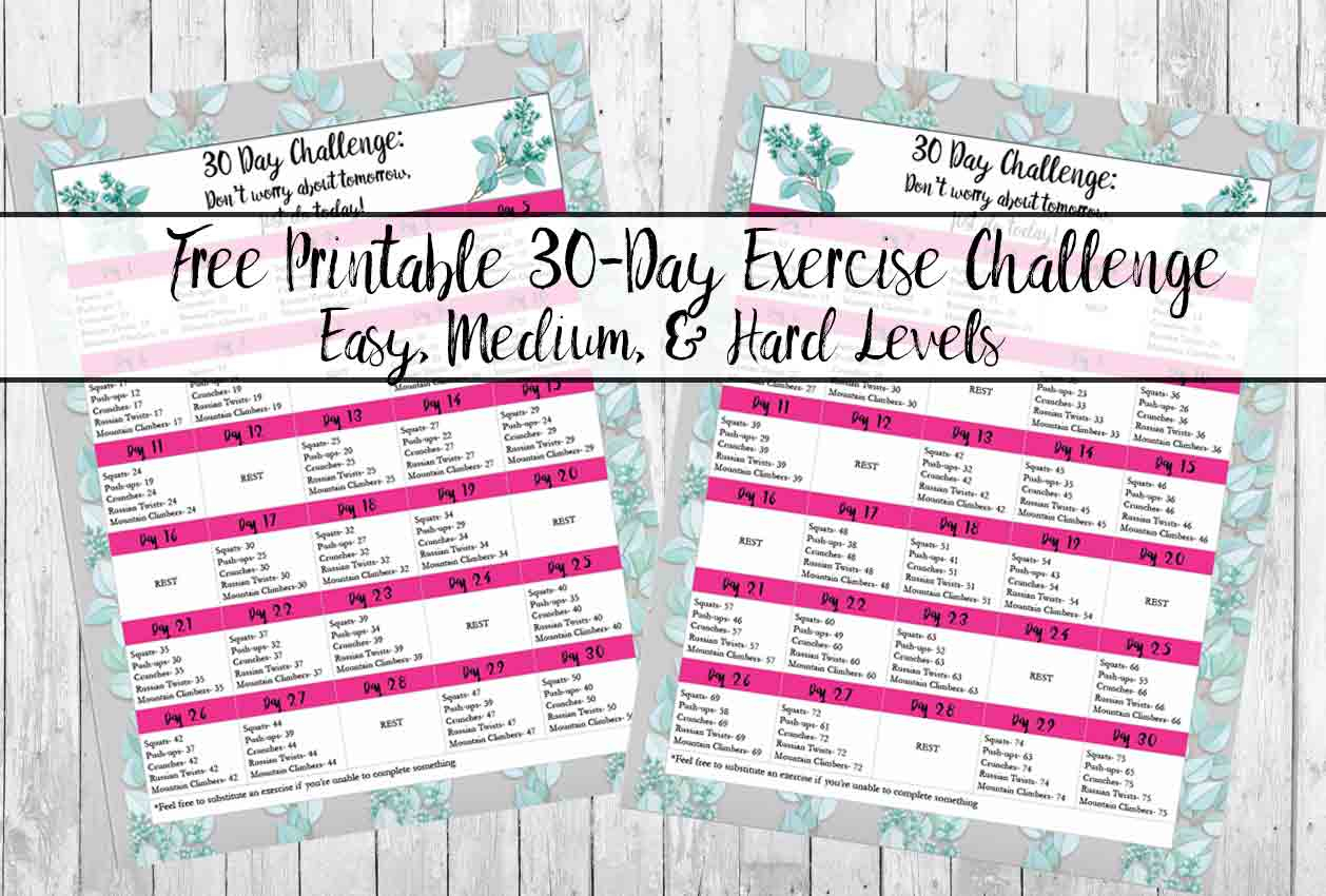Free Exercise Printable 30 Day Challenge: Easy, Medium Intended For Blank 30 Day Fitness Calendar