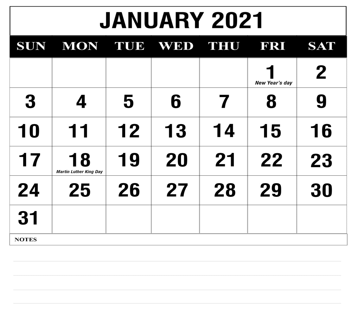 Free January 2021 Printable Calendar Template In Pdf, Excel With Julian Vs Gregorian Calendar 2021