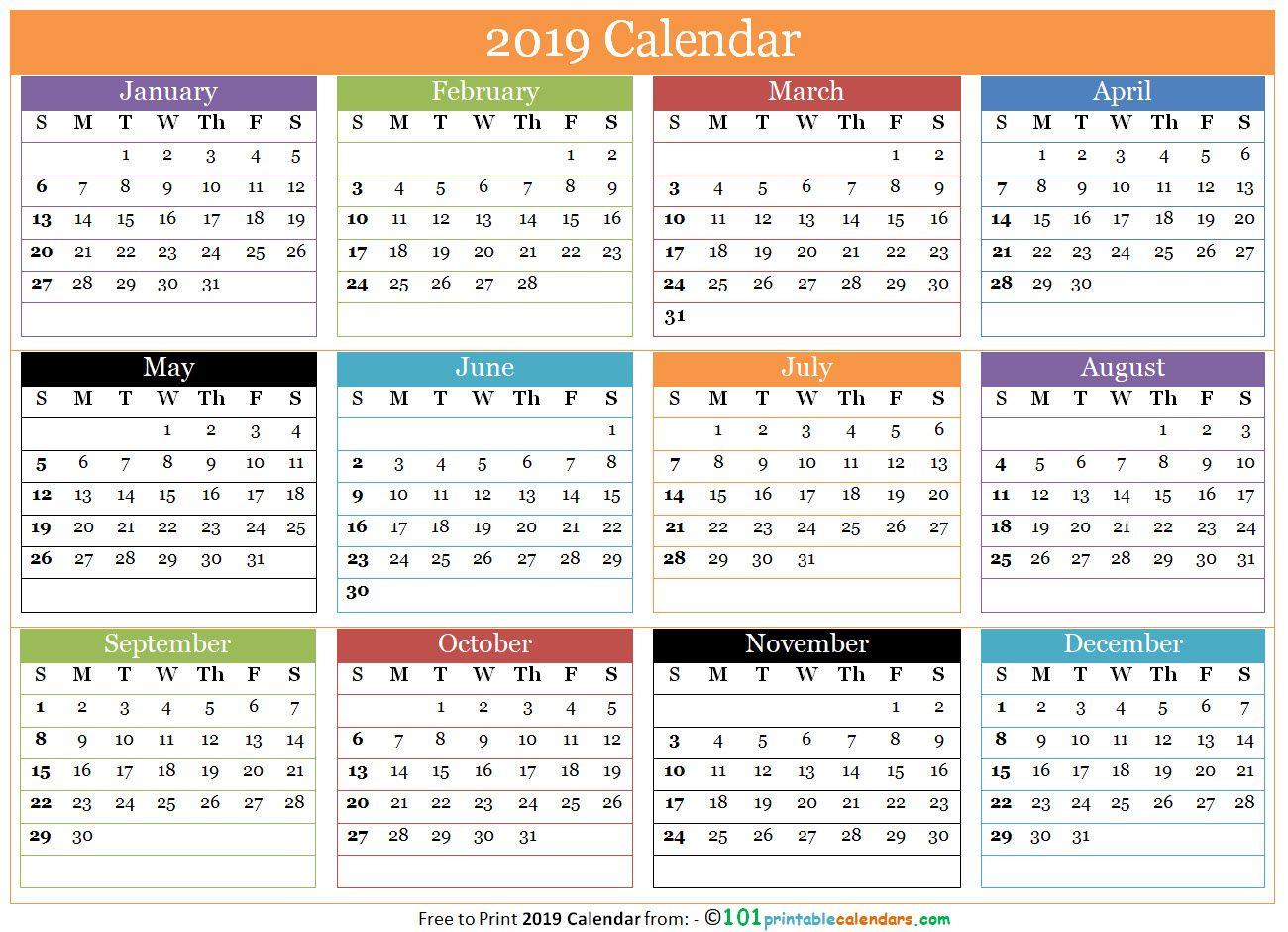 Free Printable 12 Months Calendar 2019 In One Page (With Intended For 12 Mo Calendar Template One Page No Dates